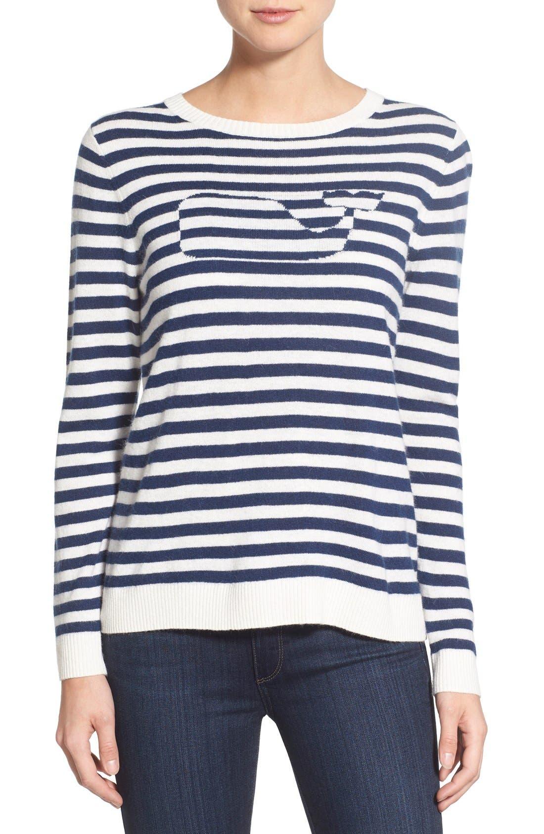 Alternate Image 1 Selected - Vineyard Vines 'Nautical Stripe Whale' Crewneck Sweater