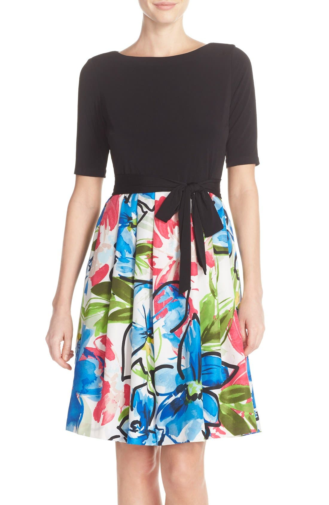 Main Image - Ellen Tracy Mixed Media Fit & Flare Dress