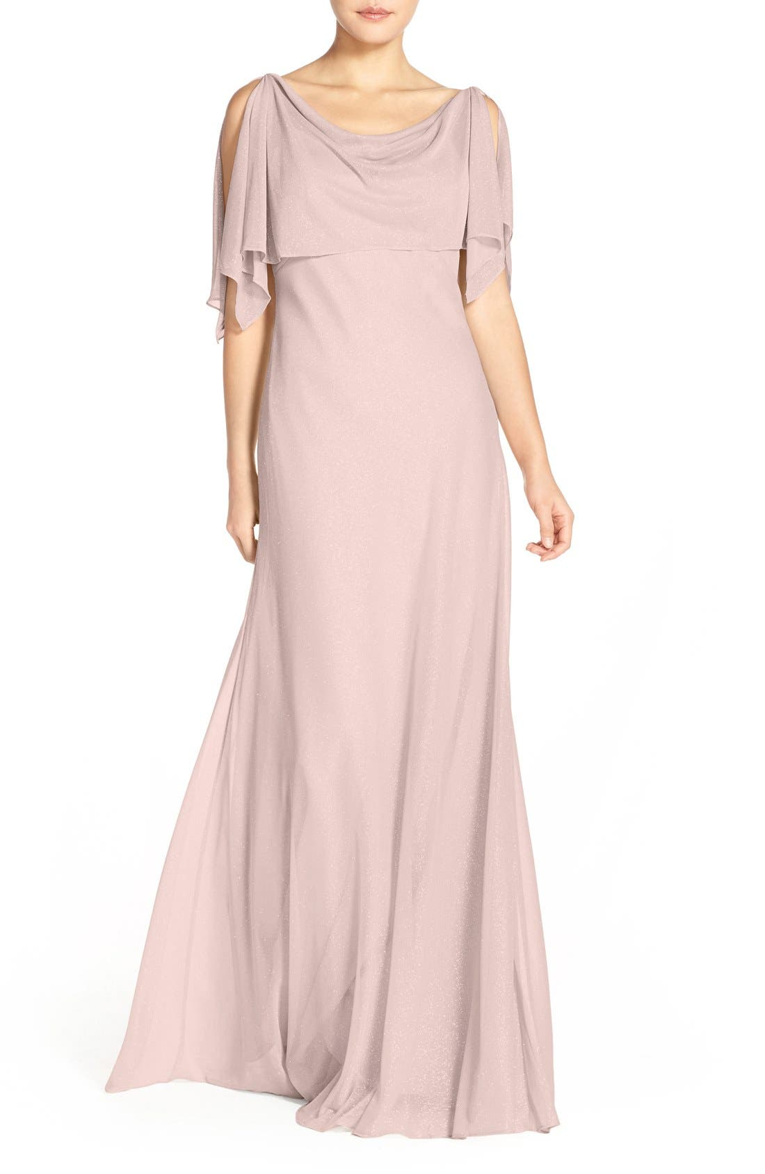 JENNY YOO 'Devon' Glitter Knit Gown with Detachable