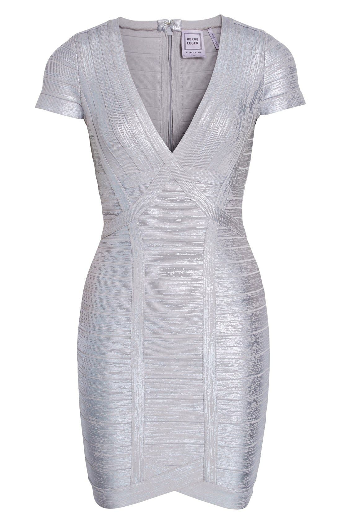 Alternate Image 4  - Herve Leger 'Klaudia' Woodgrain Metallic Foil Dress