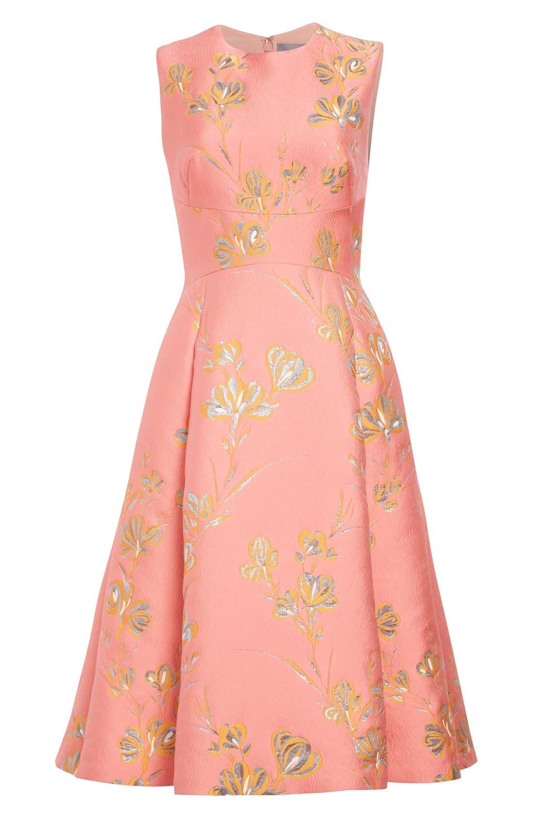Alternate Image 4  - Lela Rose Vine Jacquard Fit & Flare Dress