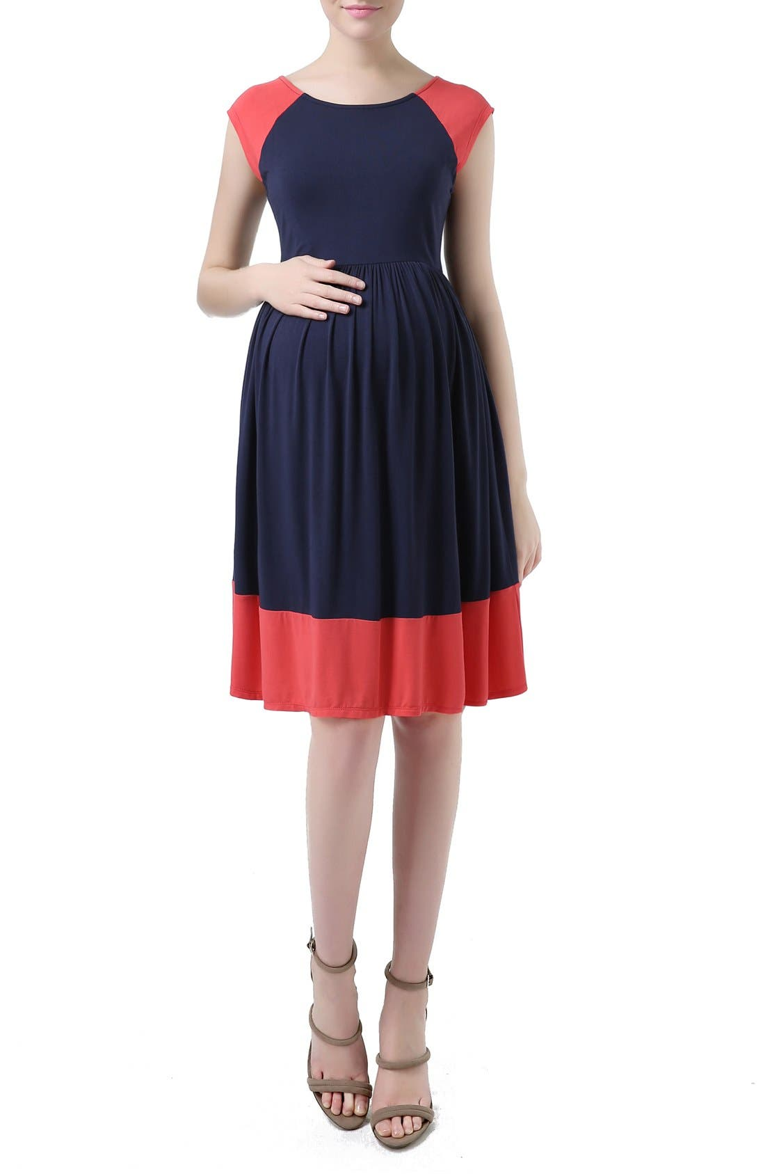 KIMI AND KAI 'Andie' Colorblock Maternity Skater Dress