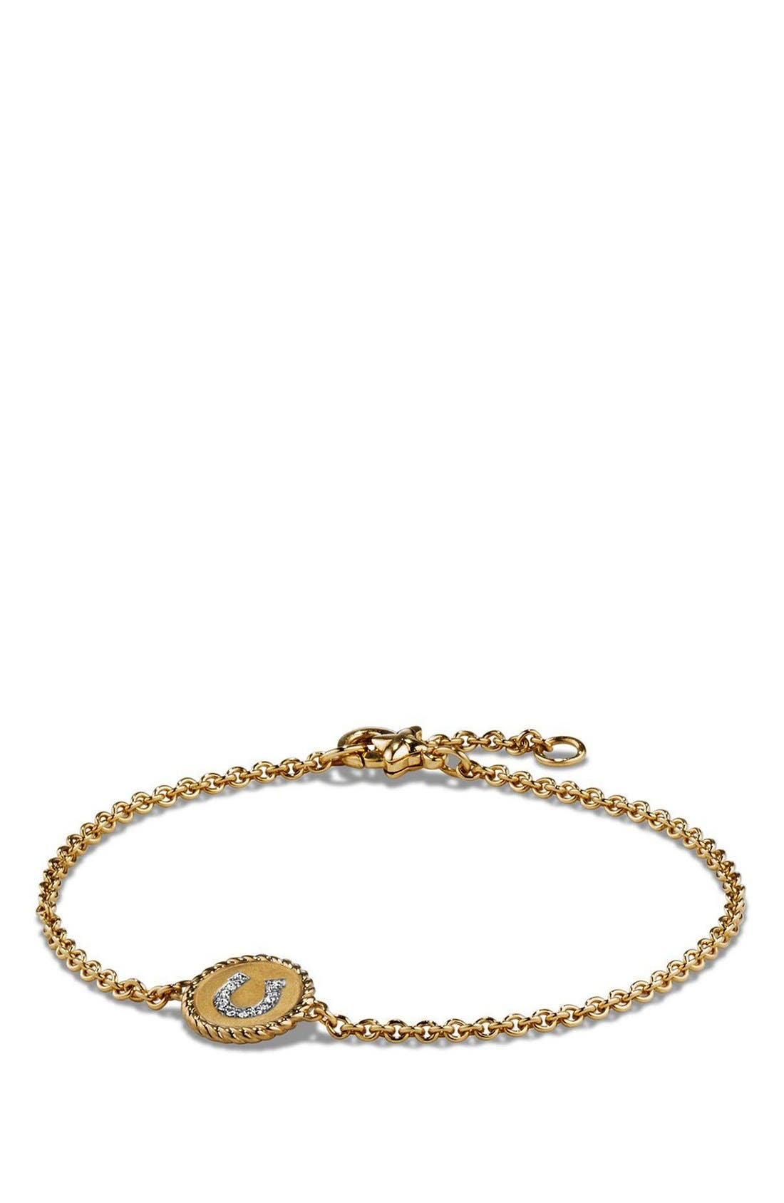 David Yurman 'Petite Pavé' Horseshoe Bracelet with Diamonds in 18K Gold