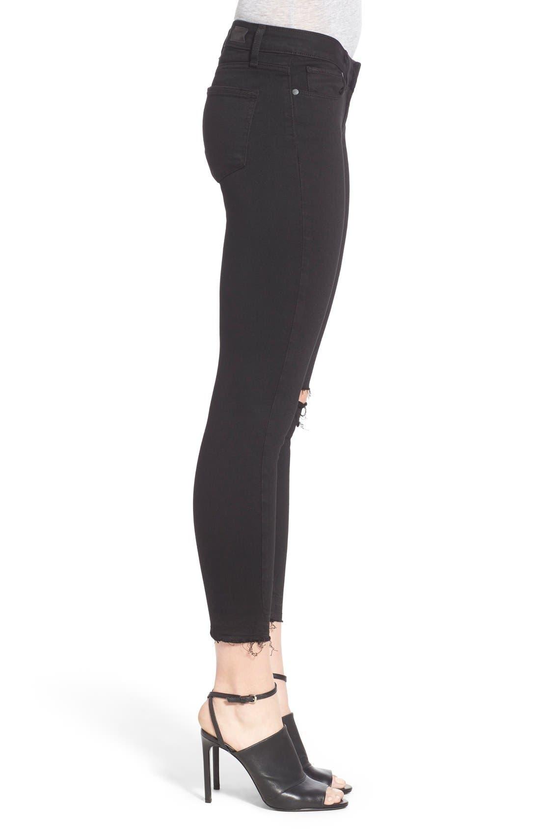 Alternate Image 3  - Paige Denim 'Transcend - Verdugo' Crop Skinny Jeans (Black Destructed)