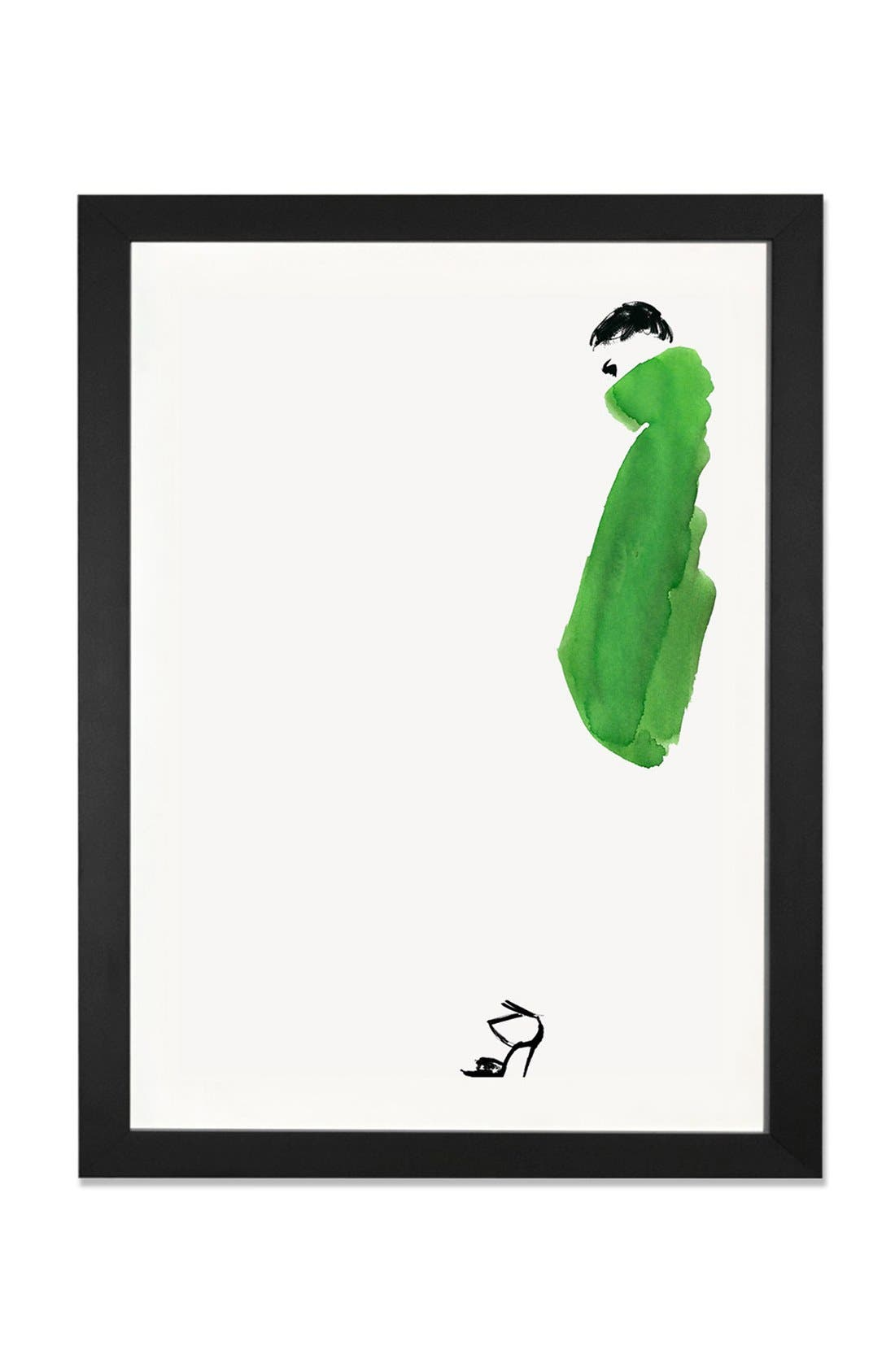 Alternate Image 1 Selected - iCanvas 'Green Coat Girl' Framed Fine Art Print