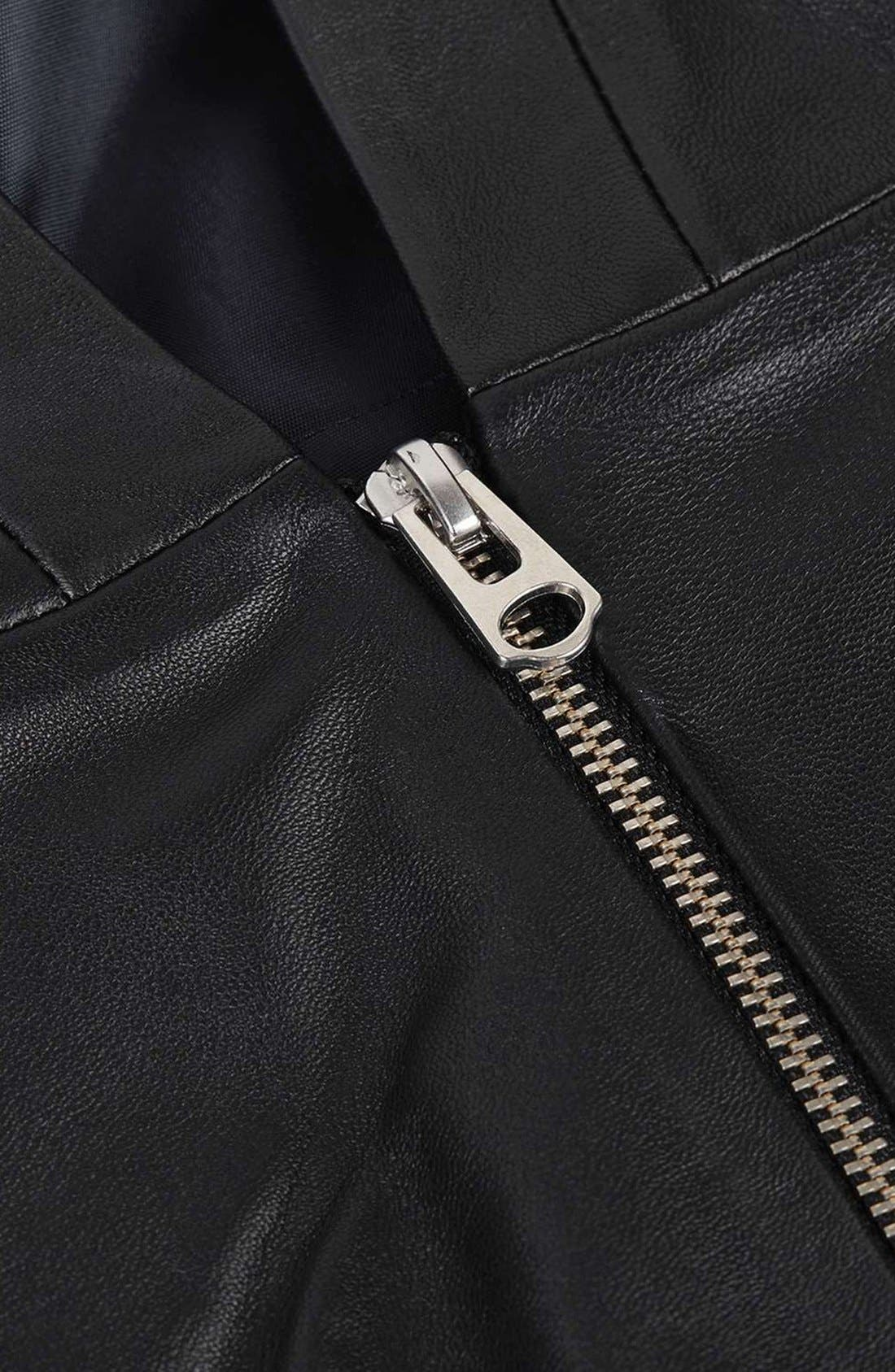 Alternate Image 5  - Topshop Boutique Leather Pinafore Dress