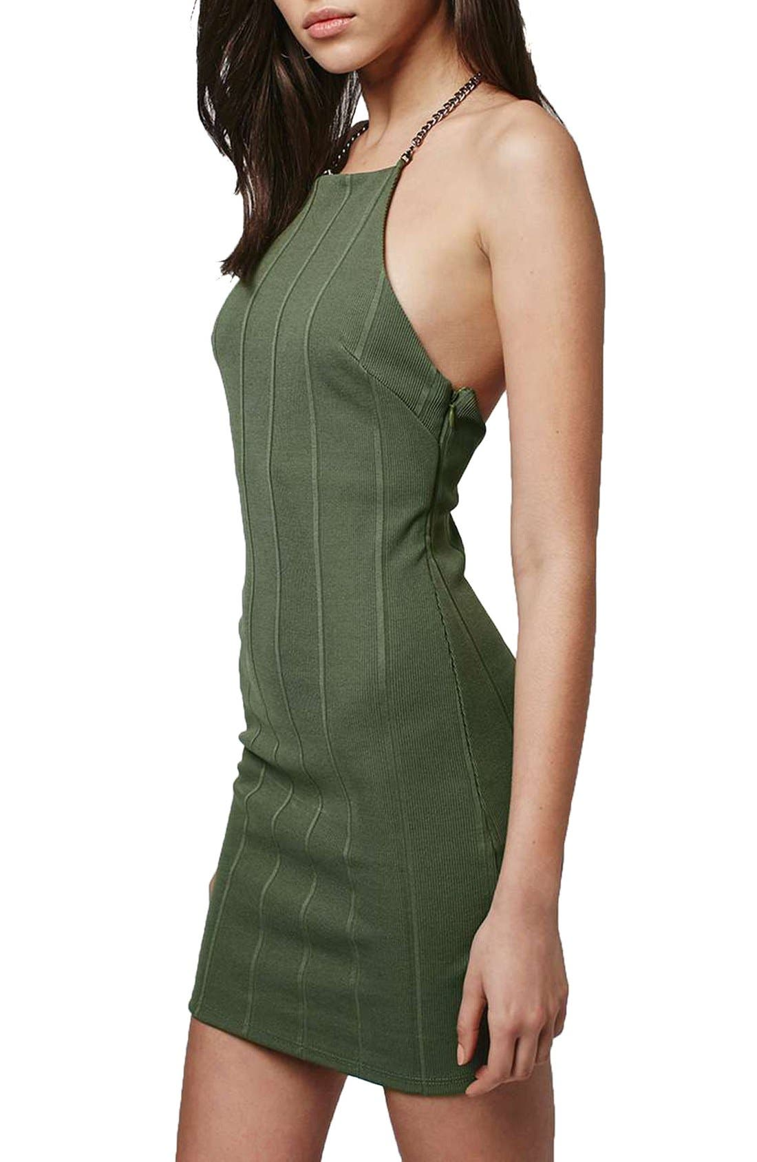 Alternate Image 3  - Topshop Chain Strap Bandage Body-Con Dress (Regular & Petite)