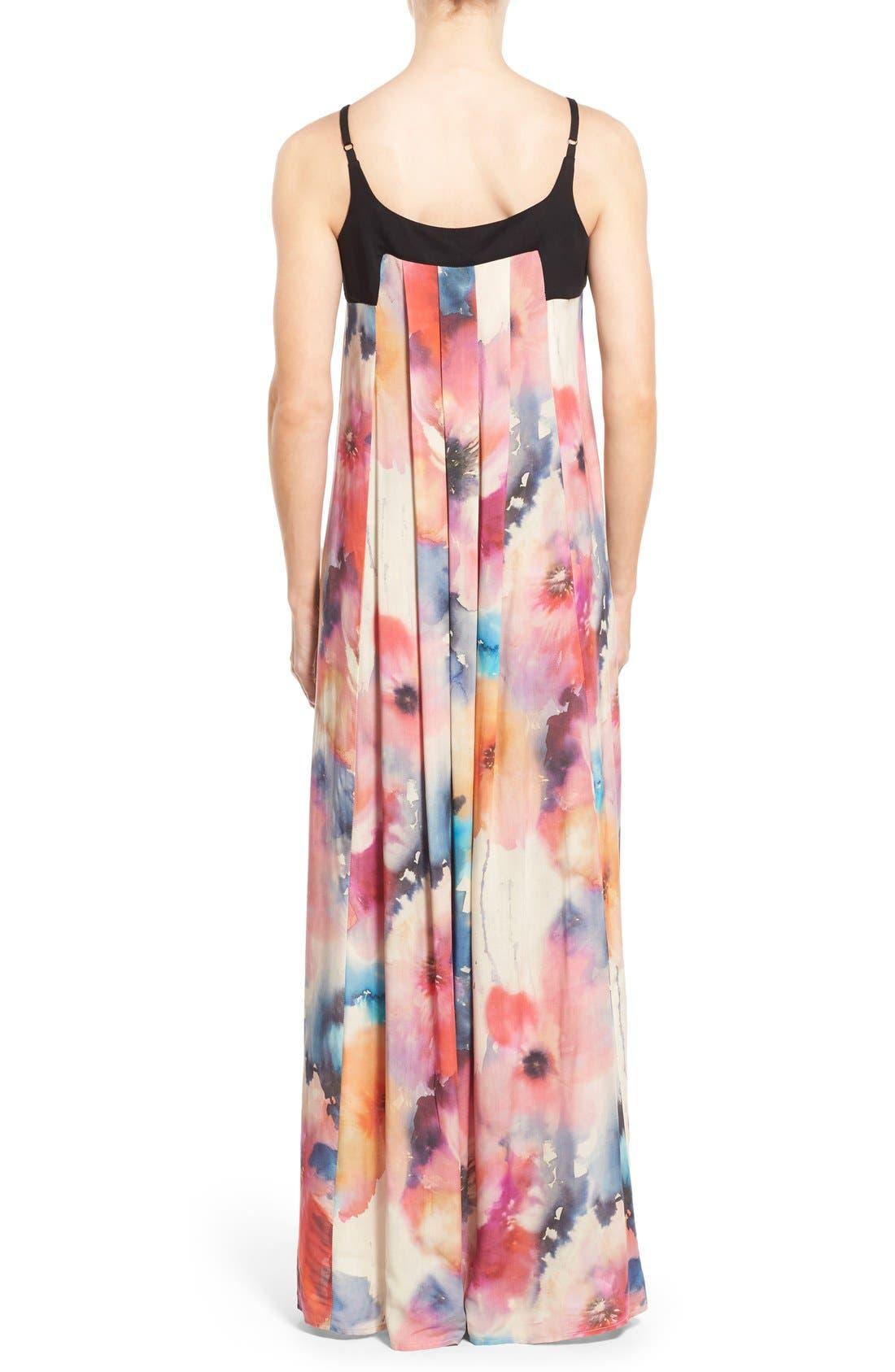 Alternate Image 2  - Matty M Print Sleeveless Pleat Maxi Dress