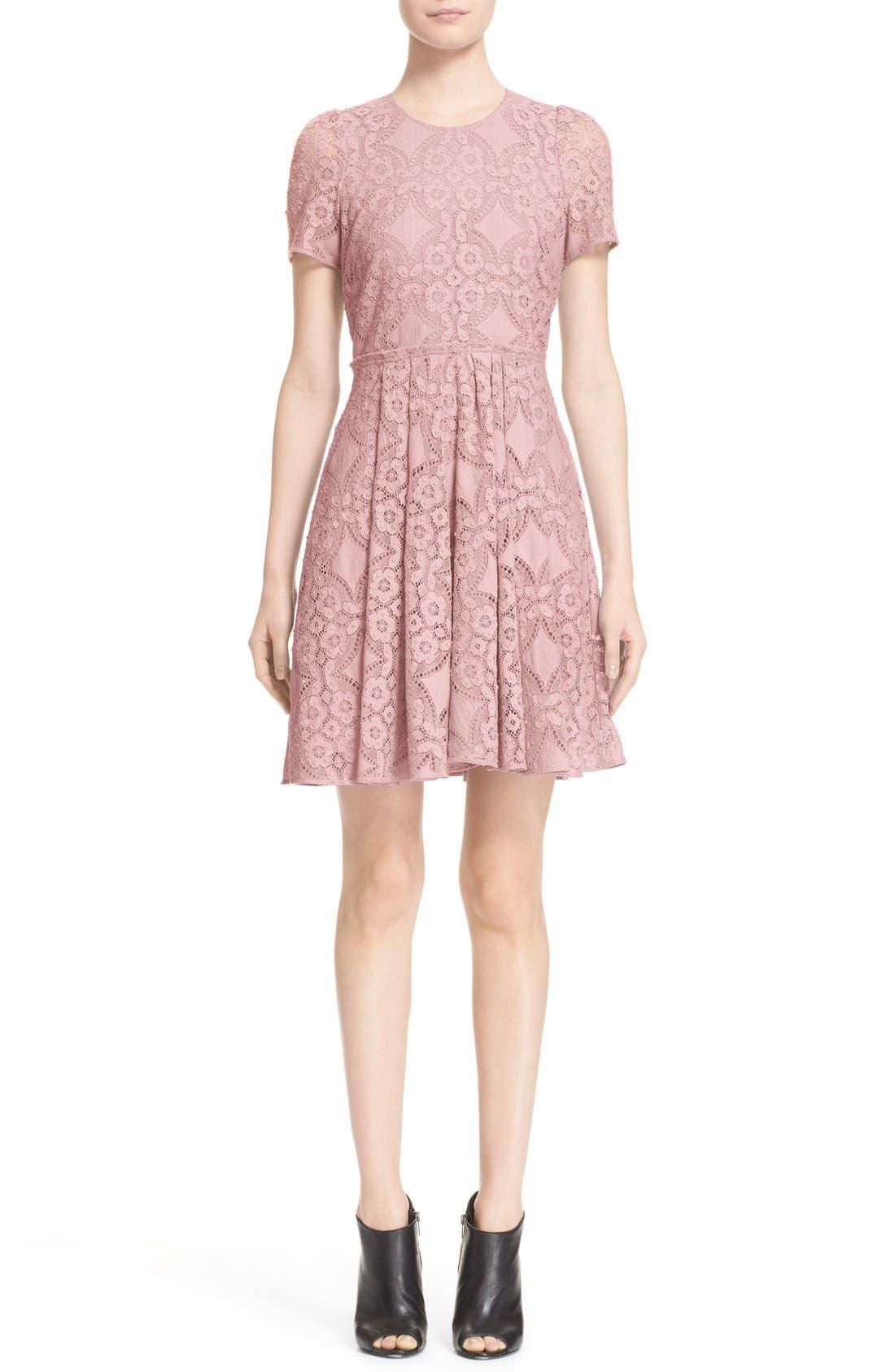 Alternate Image 1  - Burberry London 'Velma' Short Sleeve Lace Fit & Flare Dress