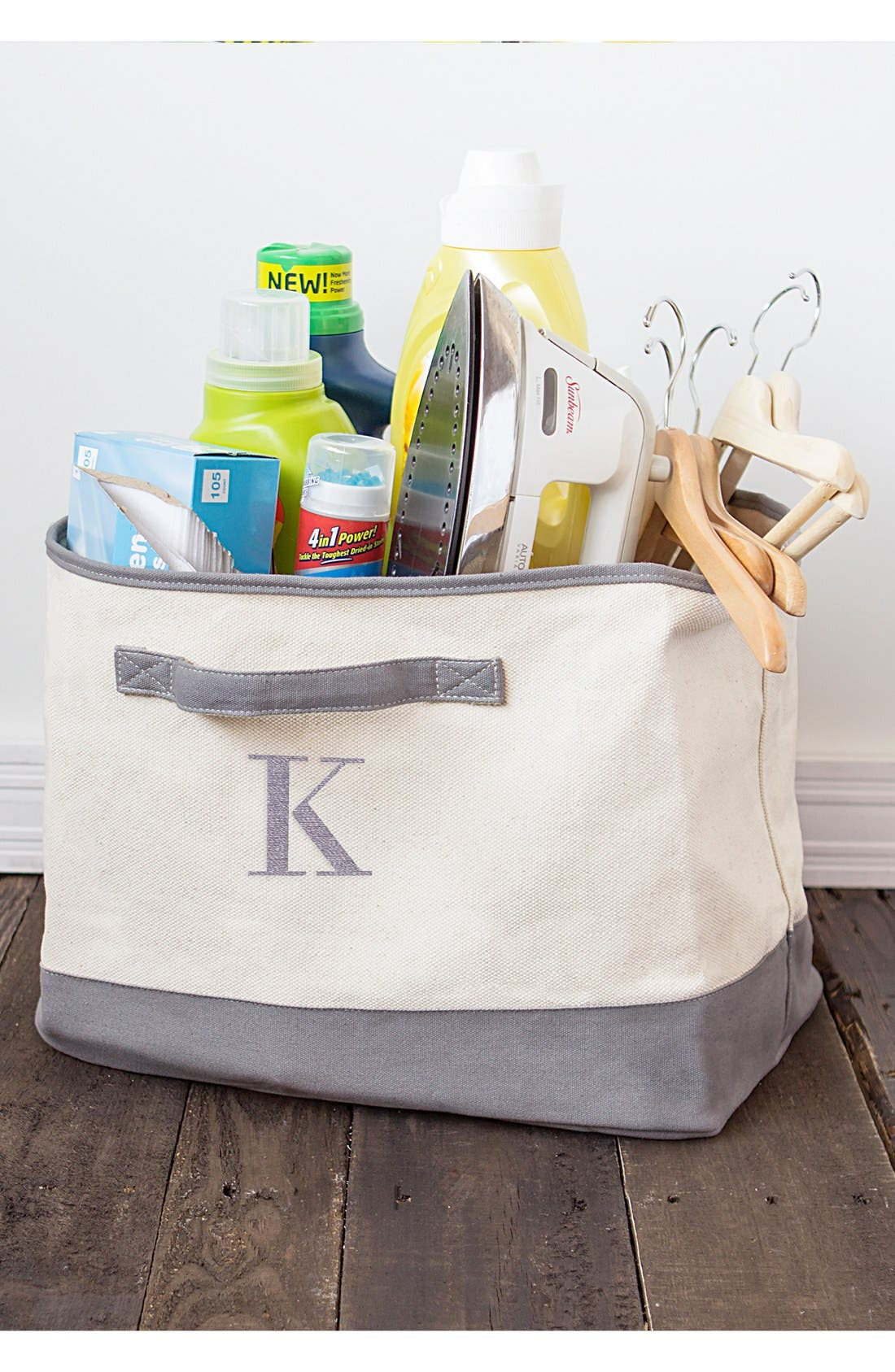 Cathy's Concepts Monogram Square Canvas Bin