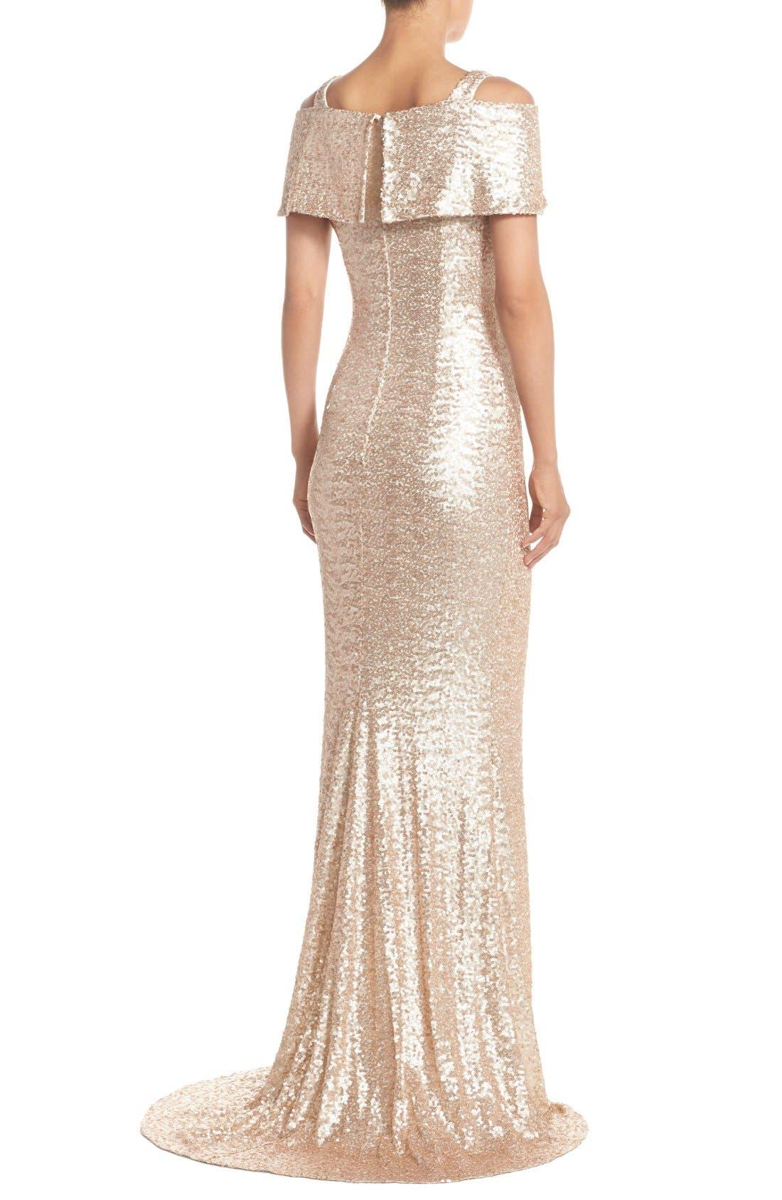 Alternate Image 2  - Badgley Mischka Cold Shoulder Sequin Body-Con Gown