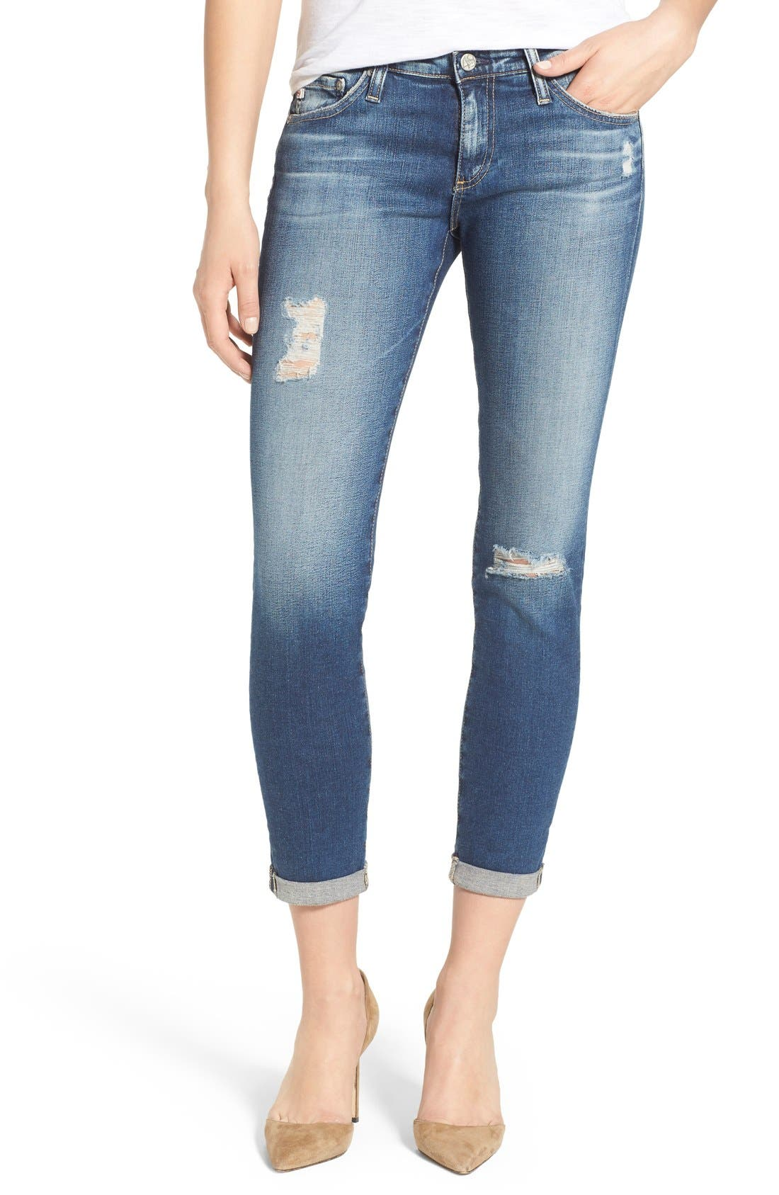 Main Image - AG 'The Stilt' Roll Cuff Skinny Jeans (4 Years Destroyed)