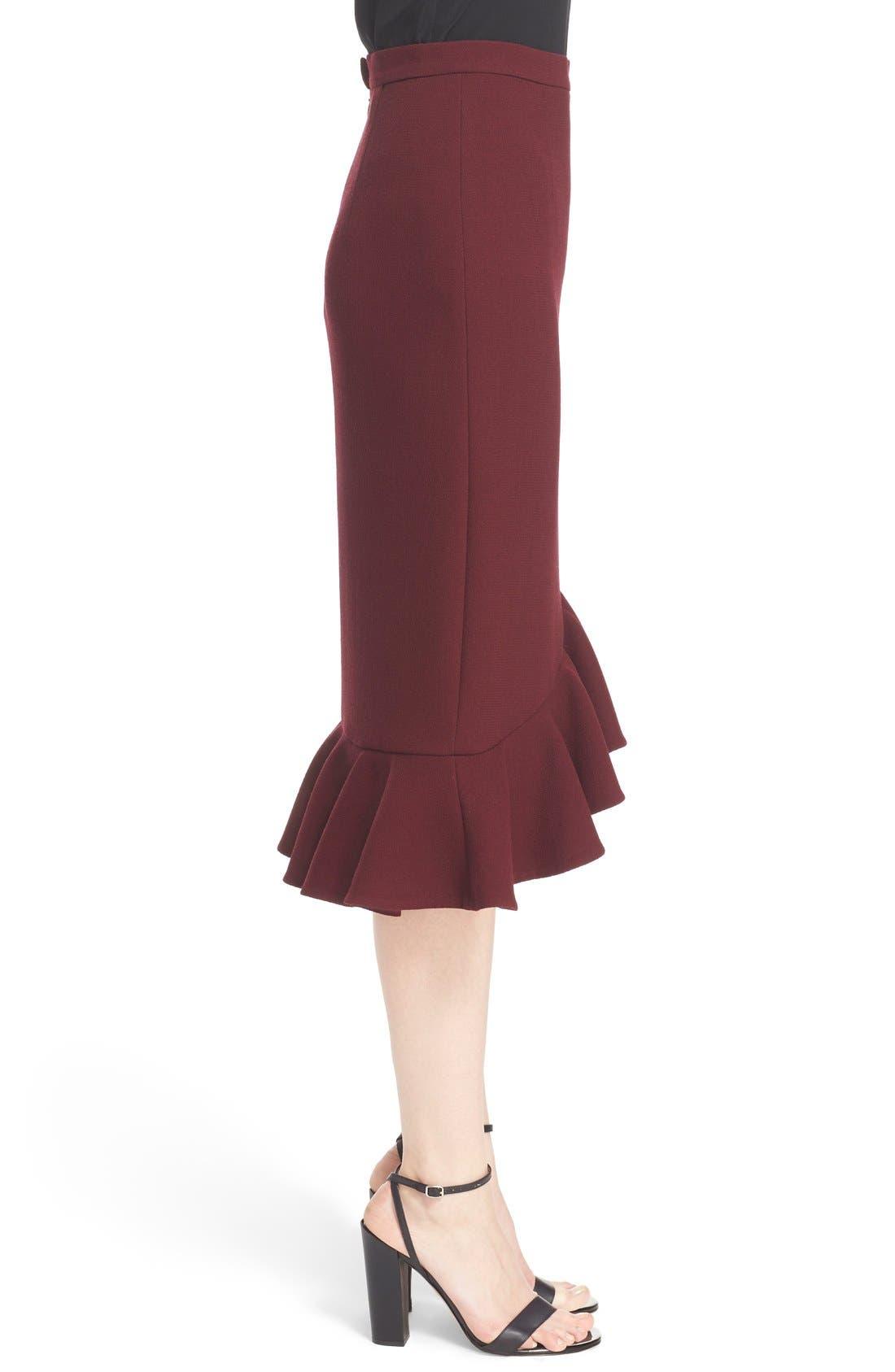 Alternate Image 5  - Erdem 'Joss' Wool Crepe Asymmetric Ruffle Hem Skirt