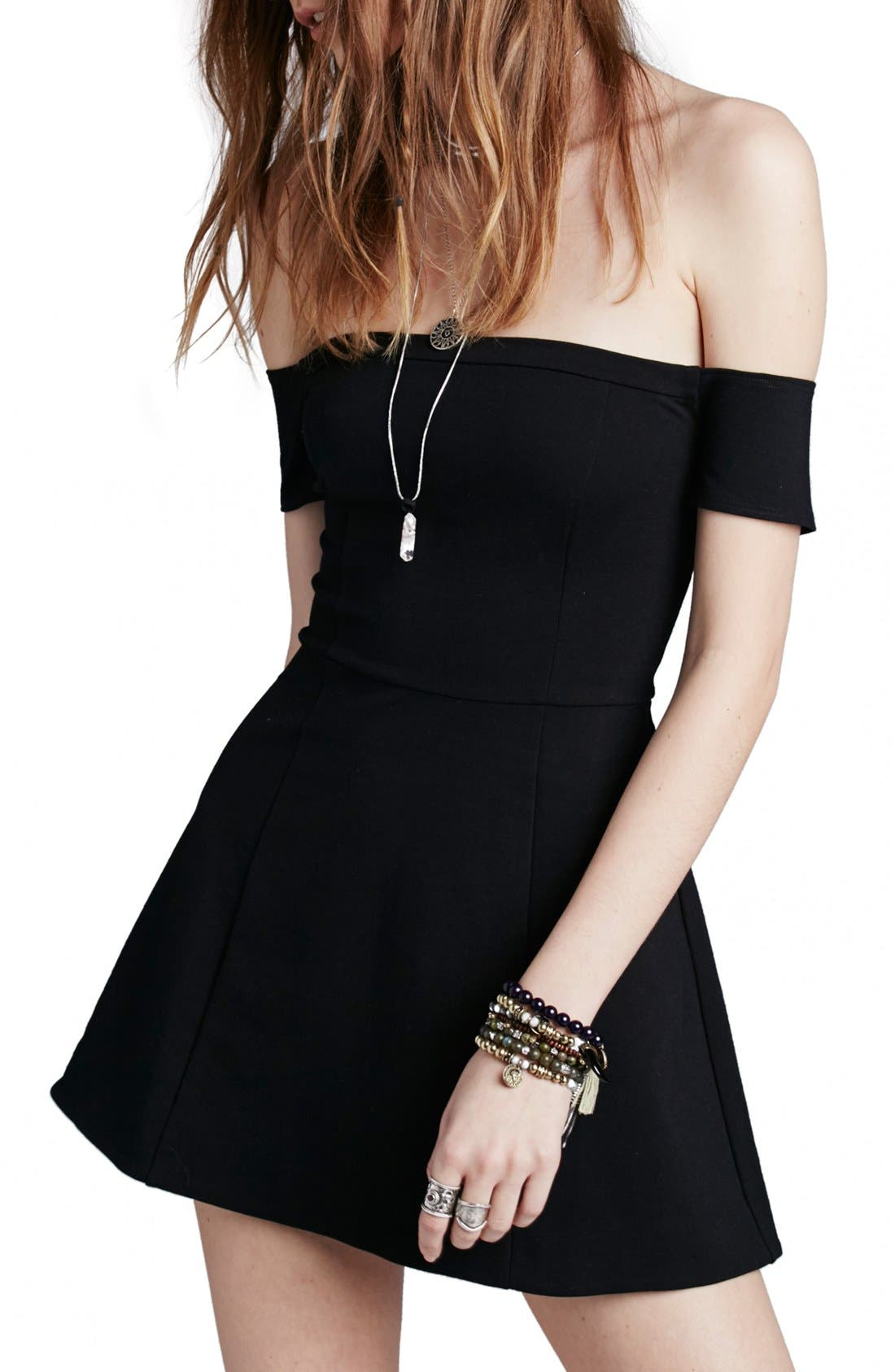 Alternate Image 1 Selected - Free People 'Black Mambo' Off the Shoulder Minidress