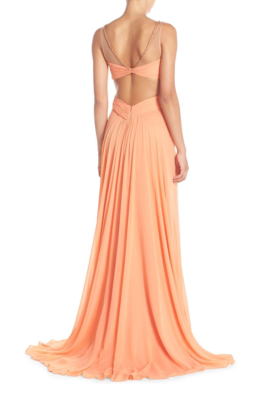 Alternate Image 2  - Terani Couture Cutout Embellished Chiffon Gown