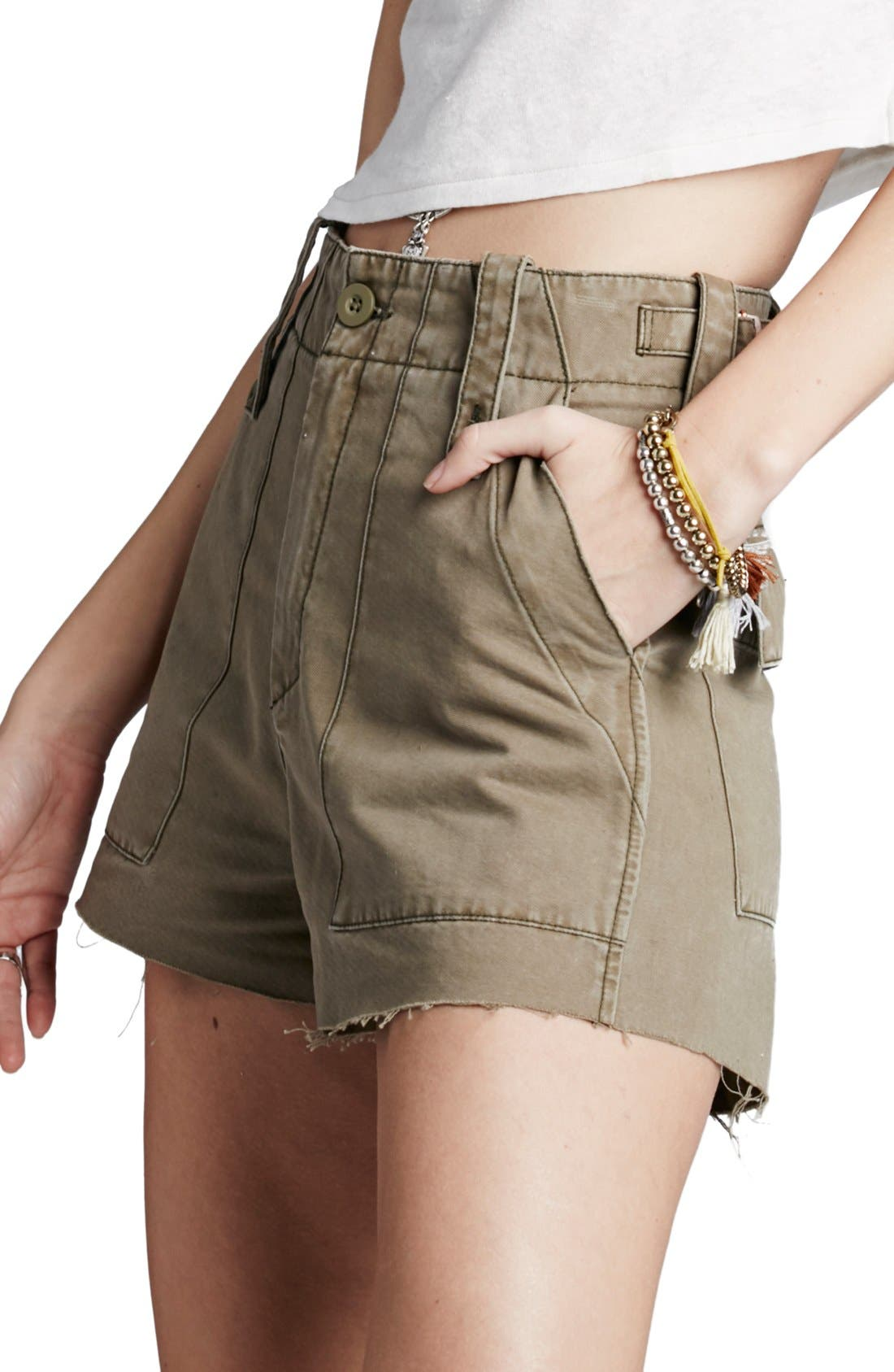Alternate Image 1 Selected - Free People 'Gunner' High Rise Twill Shorts