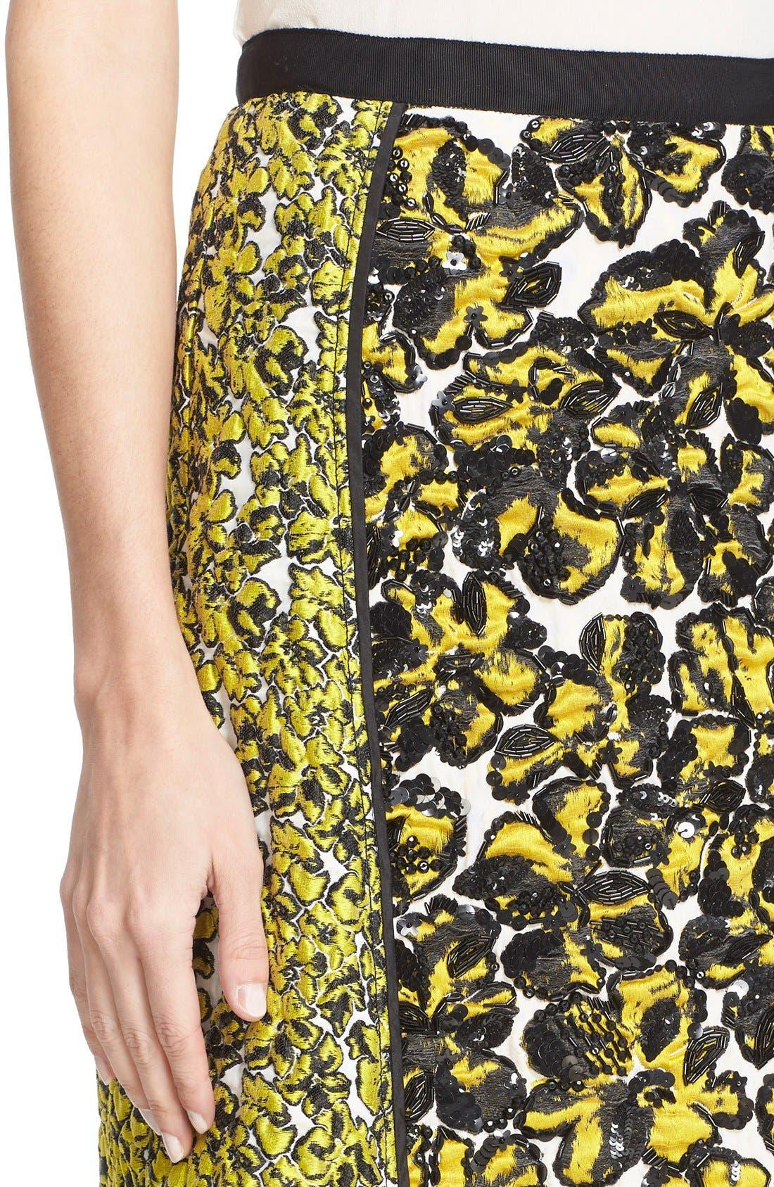 Alternate Image 5  - Oscar de la Renta Embellished Floral Jacquard Skirt