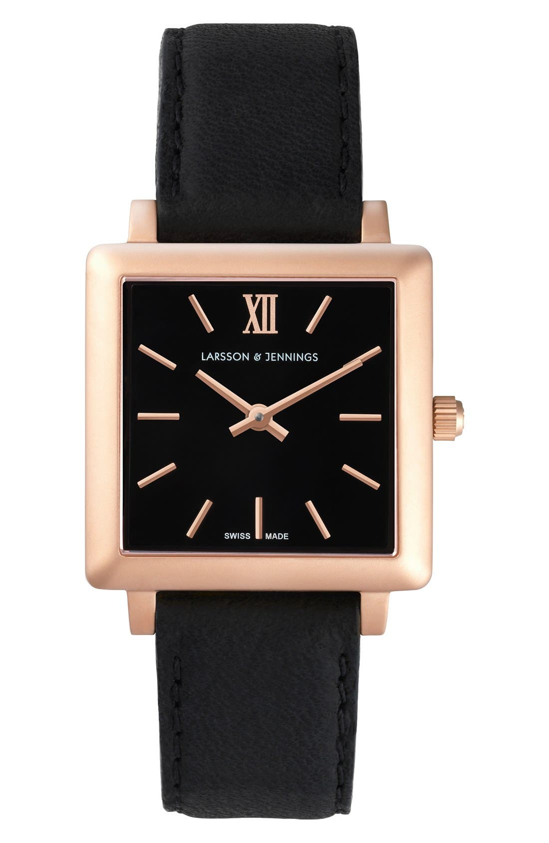 Larsson & Jennings 'Norse' Square Leather Strap Watch, 27mm x 34mm