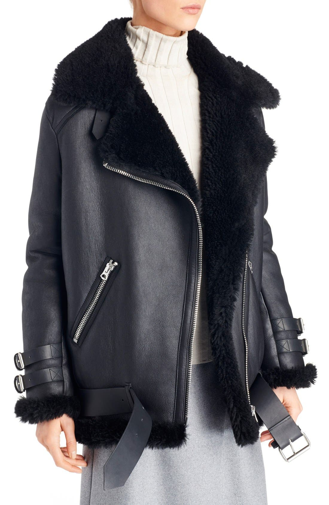 Alternate Image 3  - ACNE Studios Velocite Oversized Genuine Shearling Moto Jacket