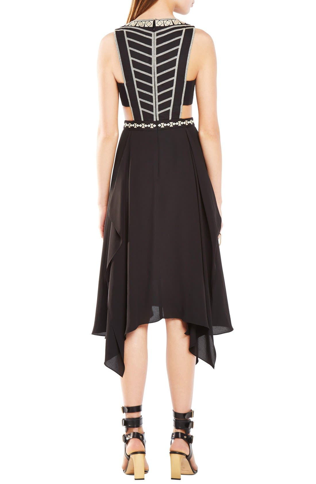 Alternate Image 2  - BCBGMAXAZRIA 'Adelia' Cutout Embellished Georgette Midi Dress