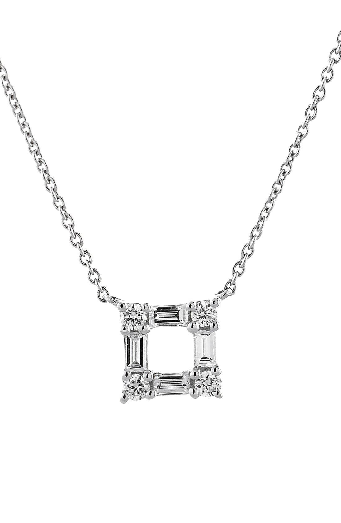 BONY LEVY Diamond Square Pendant Necklace