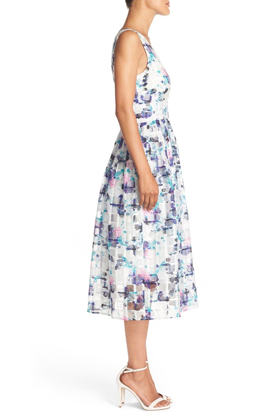 Alternate Image 3  - Ivanka Trump Floral Print Organza Midi Dress