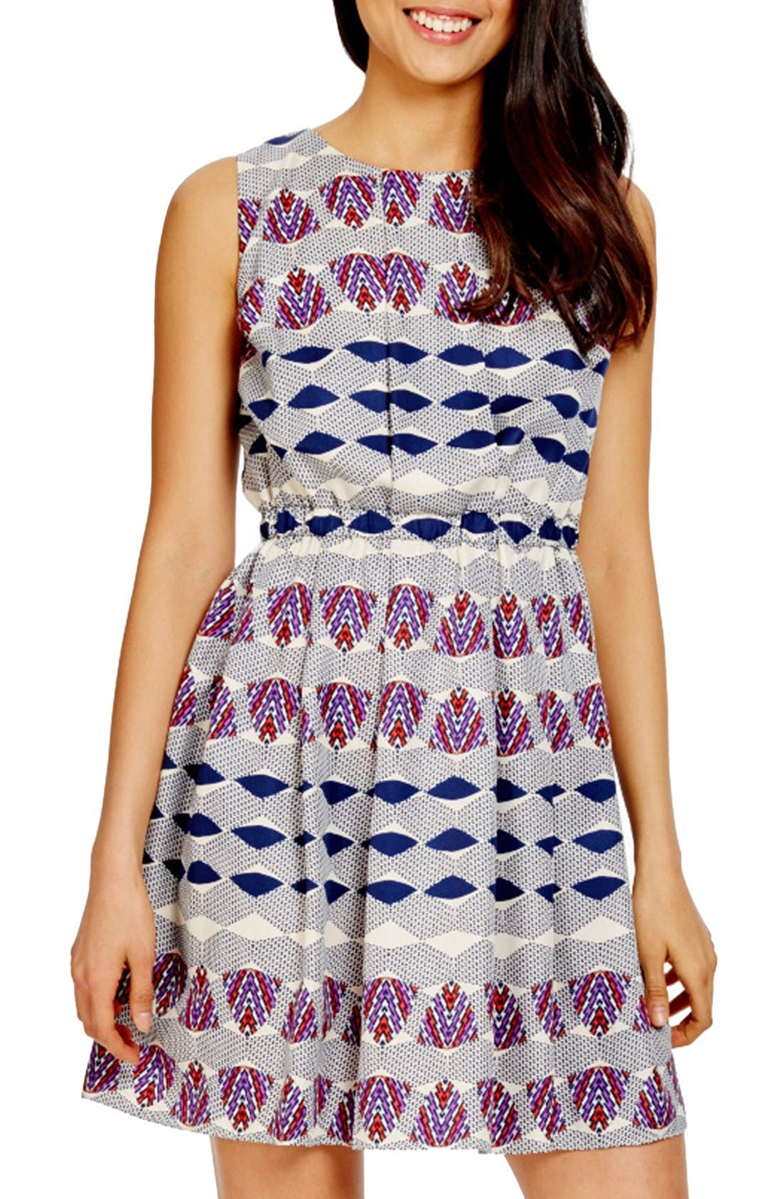 Main Image - Donna Morgan Print Twill Blouson Dress