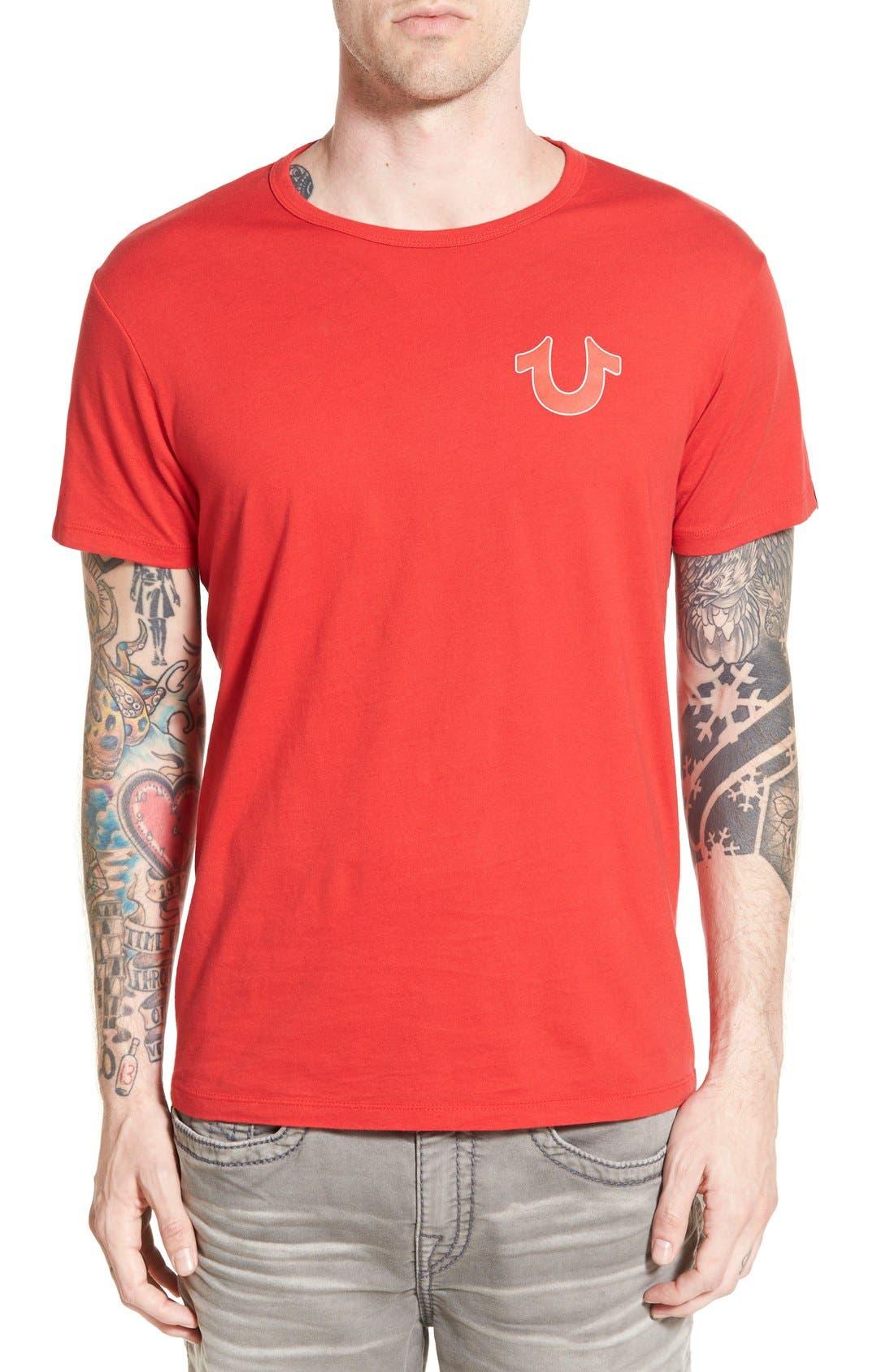 True Religion Brand Jeans 'Double Puff' Graphic Crewneck T-Shirt