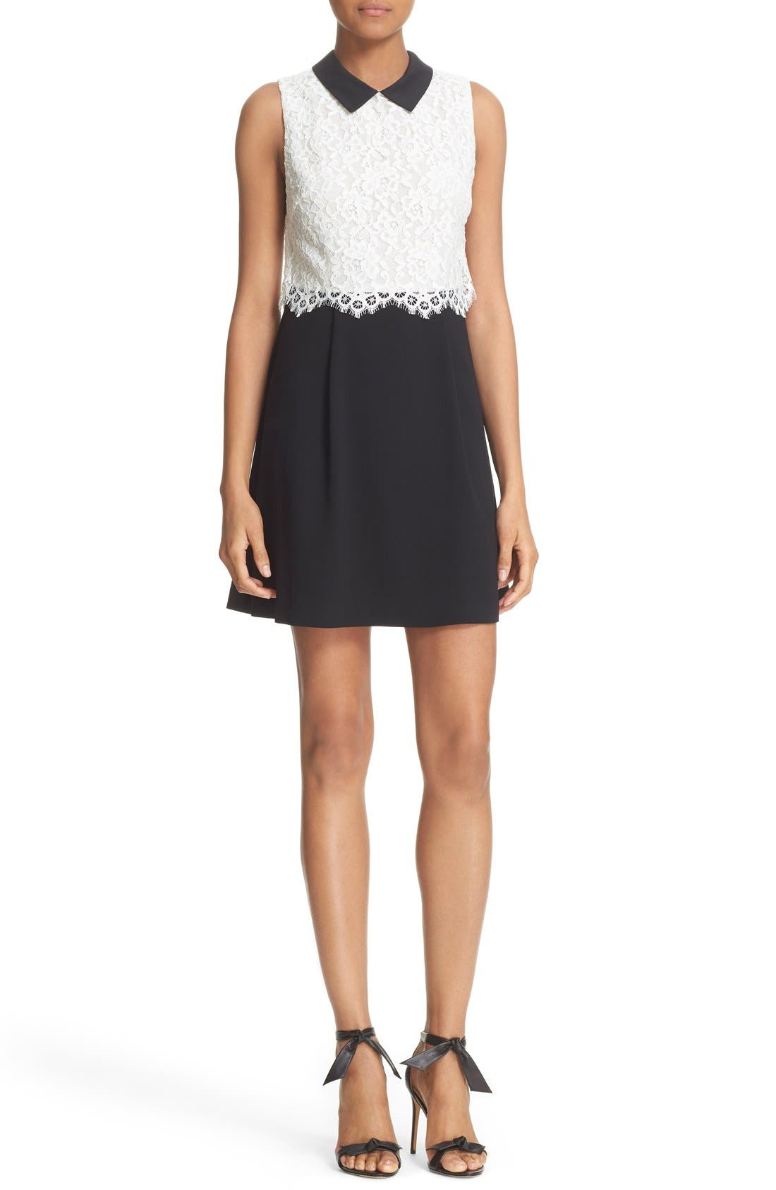 Alternate Image 1 Selected - Alice + Olivia 'Desra' Two-Tone Lace Bodice Minidress