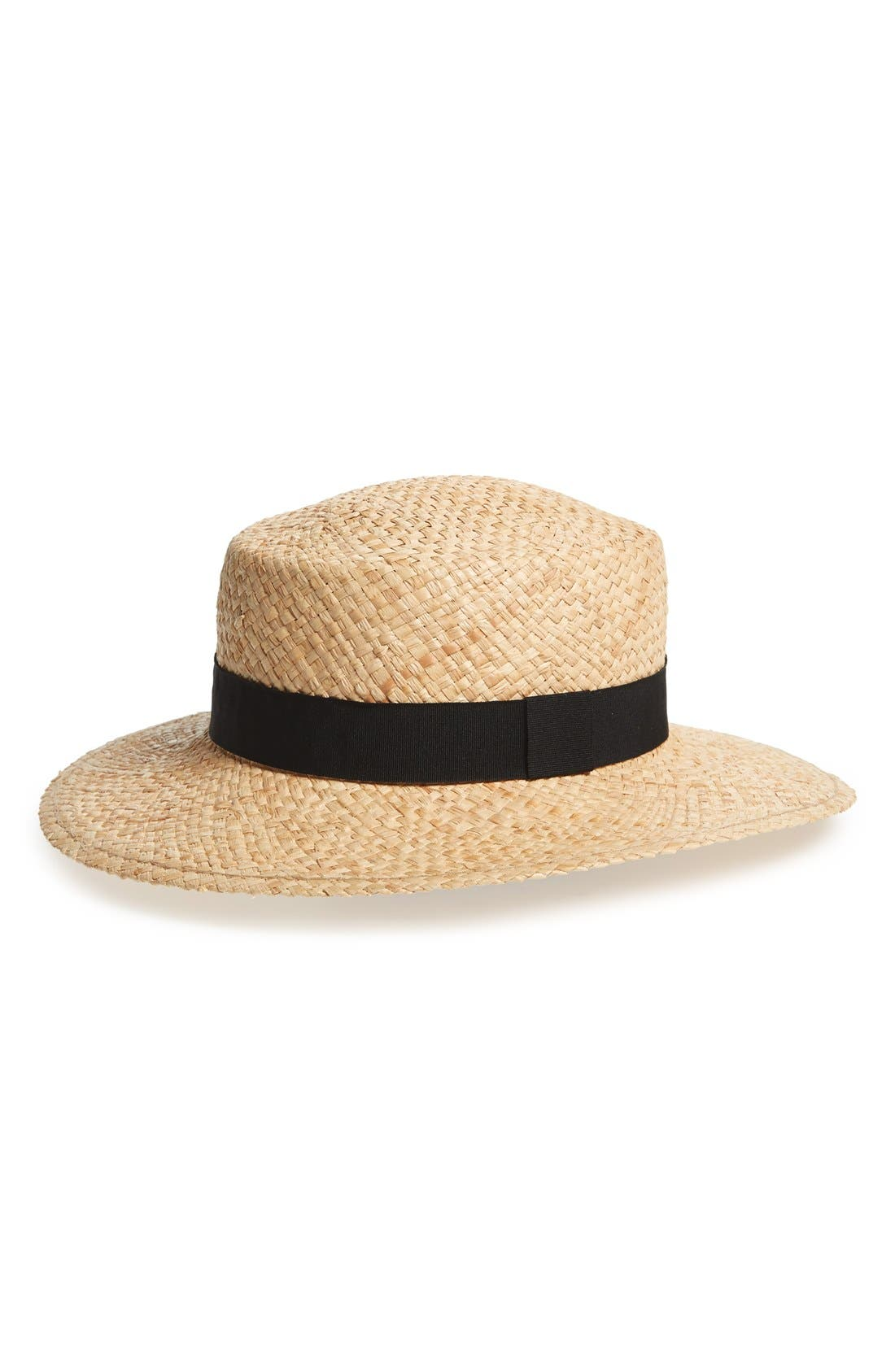 Main Image - BP. Woven Raffia Boater Hat