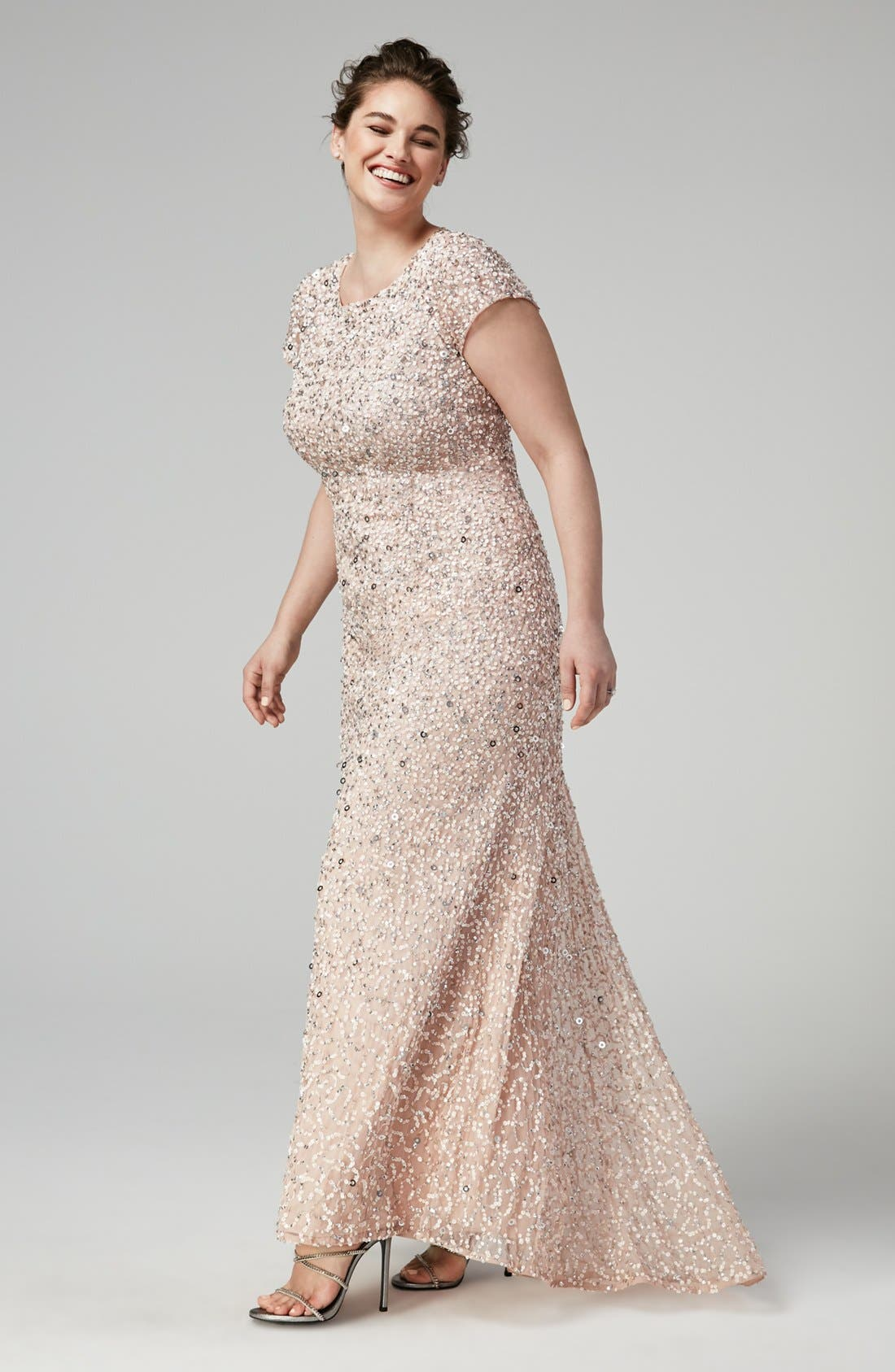 Alternate Image 2  - Adrianna Papell Embellished Scoop Back Gown (Plus Size)