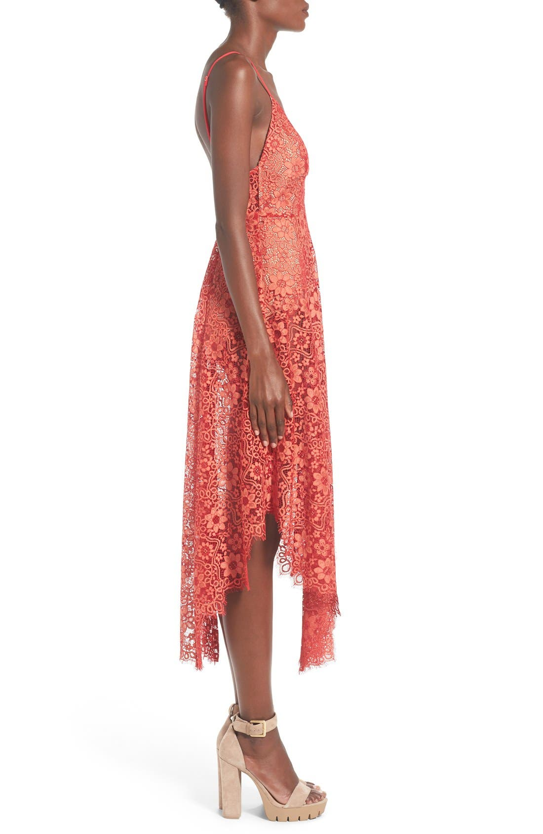 Alternate Image 3  - For Love & Lemons 'Rosemary' Handkerchief Hem Lace Midi Dress