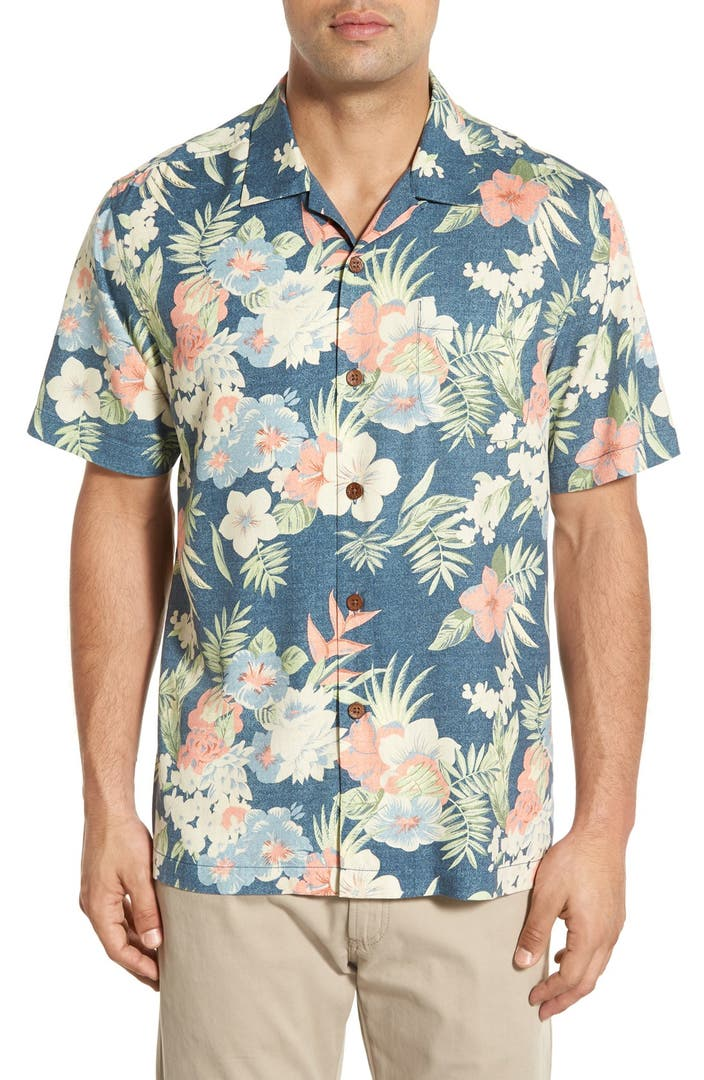 Tommy bahama 39 ikebana floral 39 original fit silk camp shirt for Tommy bahama short sleeve silk camp shirt