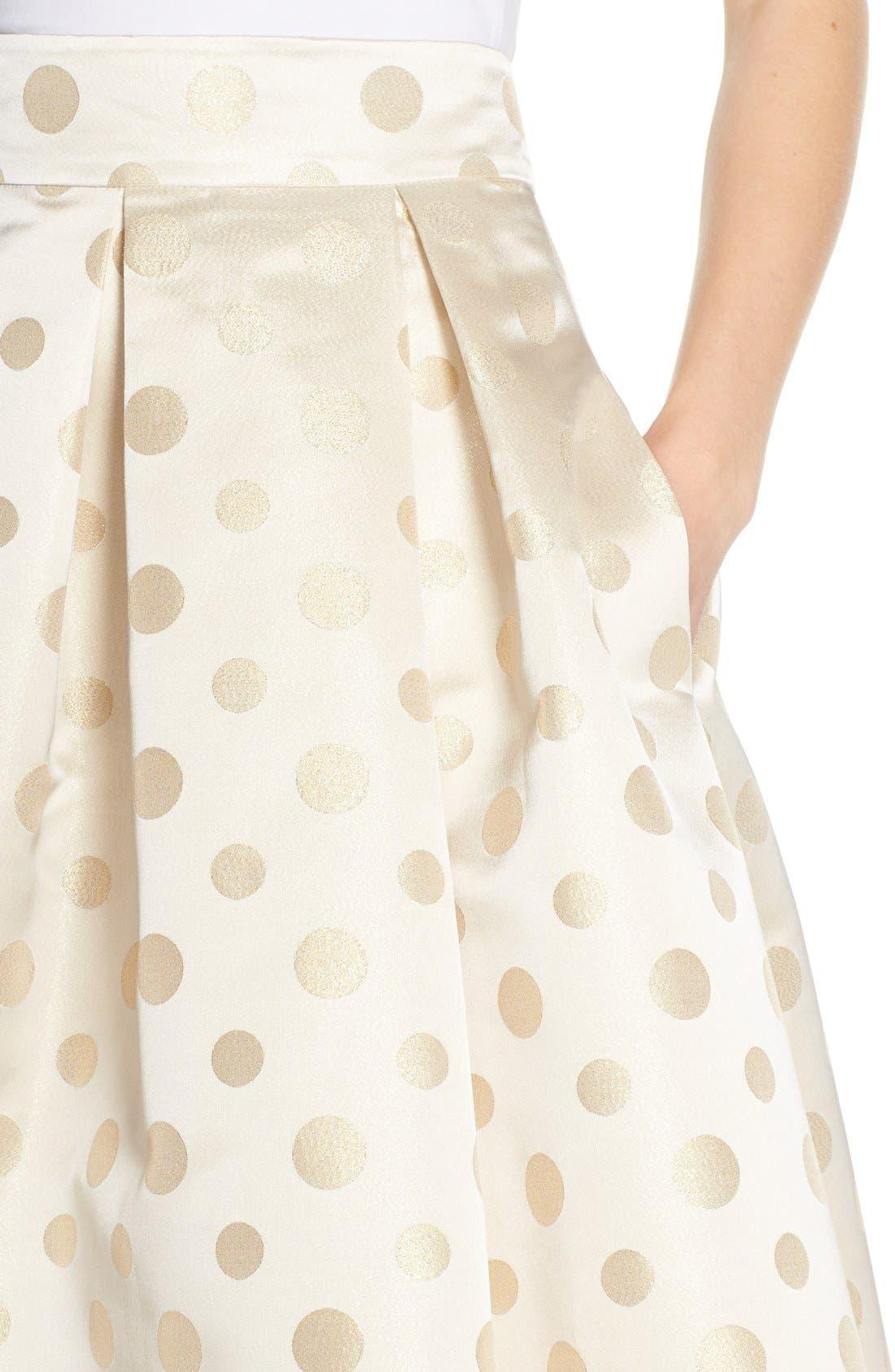 Alternate Image 4  - Eliza J Polka Dot Metallic Midi Skirt