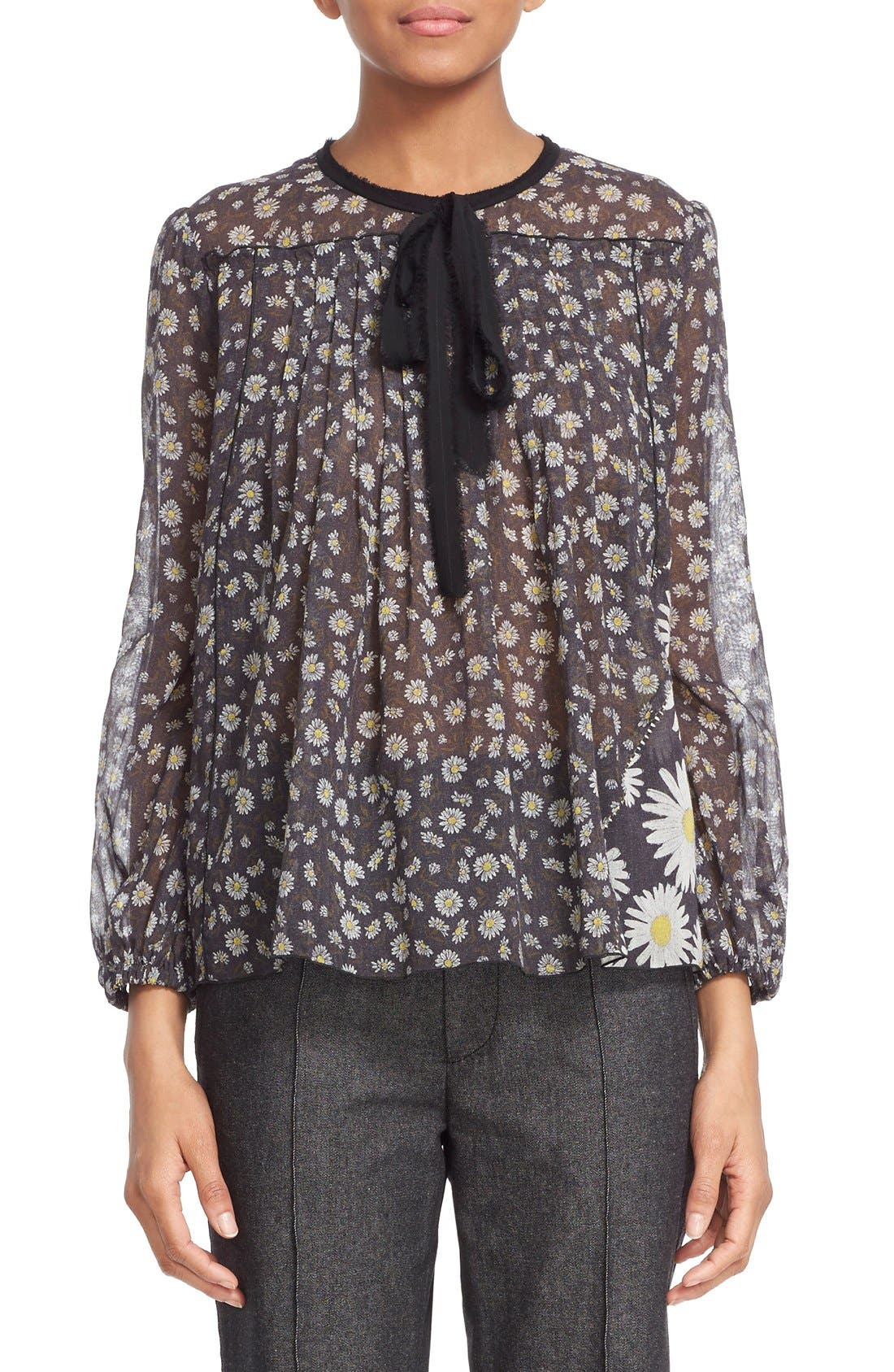 Main Image - MARC JACOBS Daisy Print Sheer Tie Neck Peasant Blouse