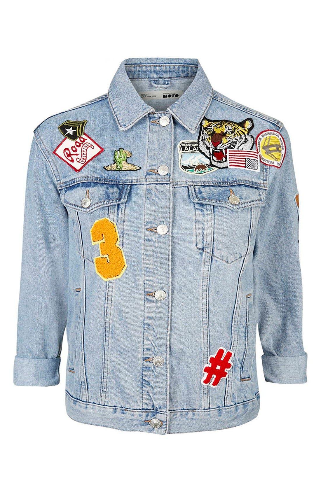 Alternate Image 5  - Topshop Moto Badged Denim Jacket (Petite)