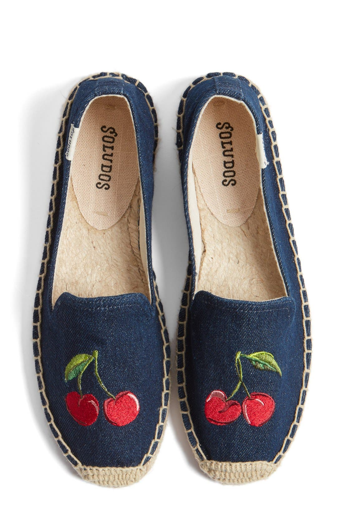 Main Image - Soludos 'Cherries' Embroidered Espadrille Slip-On (Women)