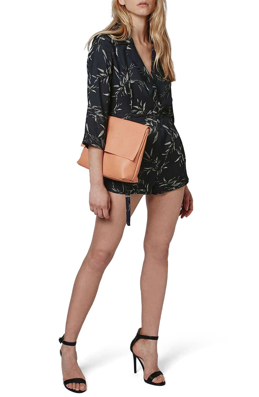Main Image - Topshop 'Alexa' Three-Quarter Sleeve Leaf Romper