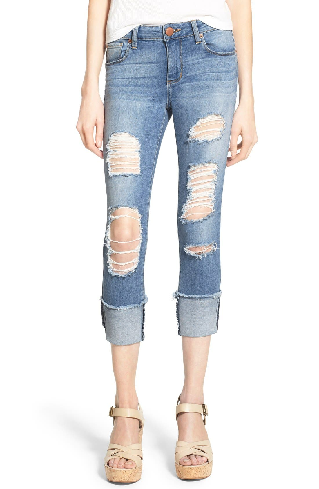 Alternate Image 1 Selected - STS Blue Destroyed Crop Skinny Jeans (Topanga)