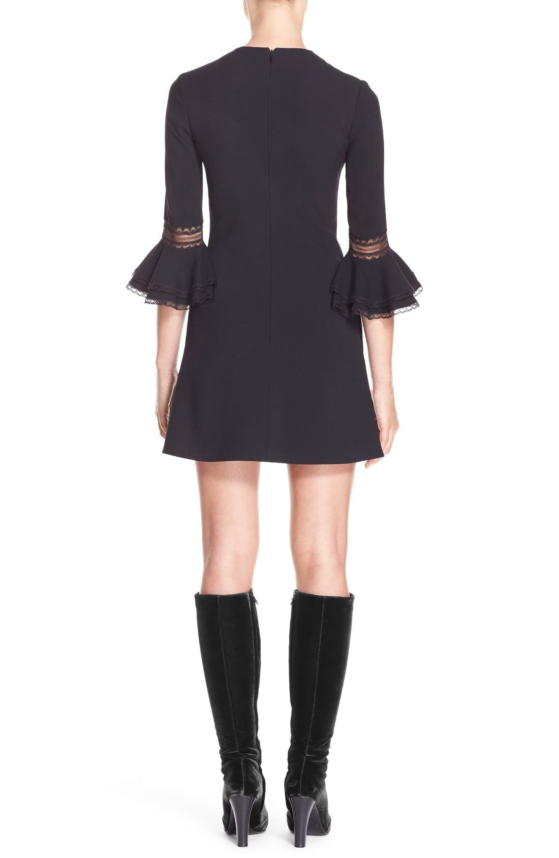 Alternate Image 2  - Saint Laurent Ruffle Trim Crepe Sable Babydoll Dress