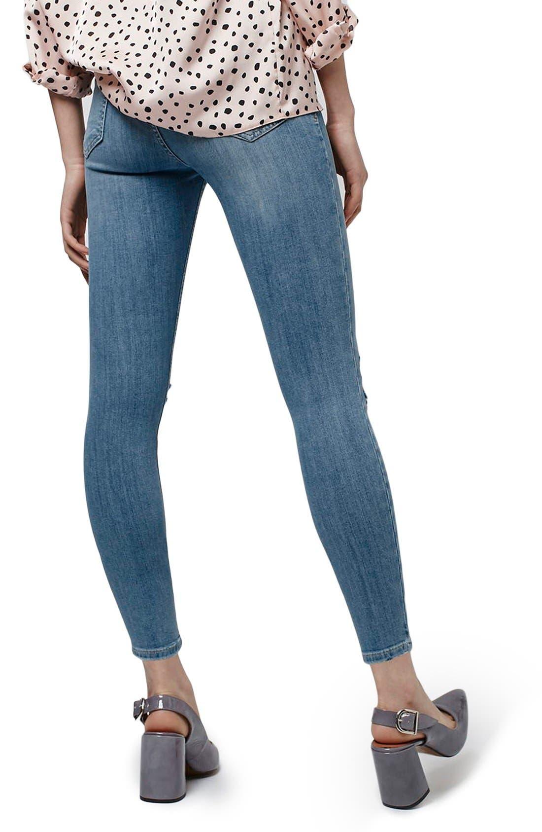 Alternate Image 3  - Topshop 'Jamie' Distressed Skinny Jeans (Petite)