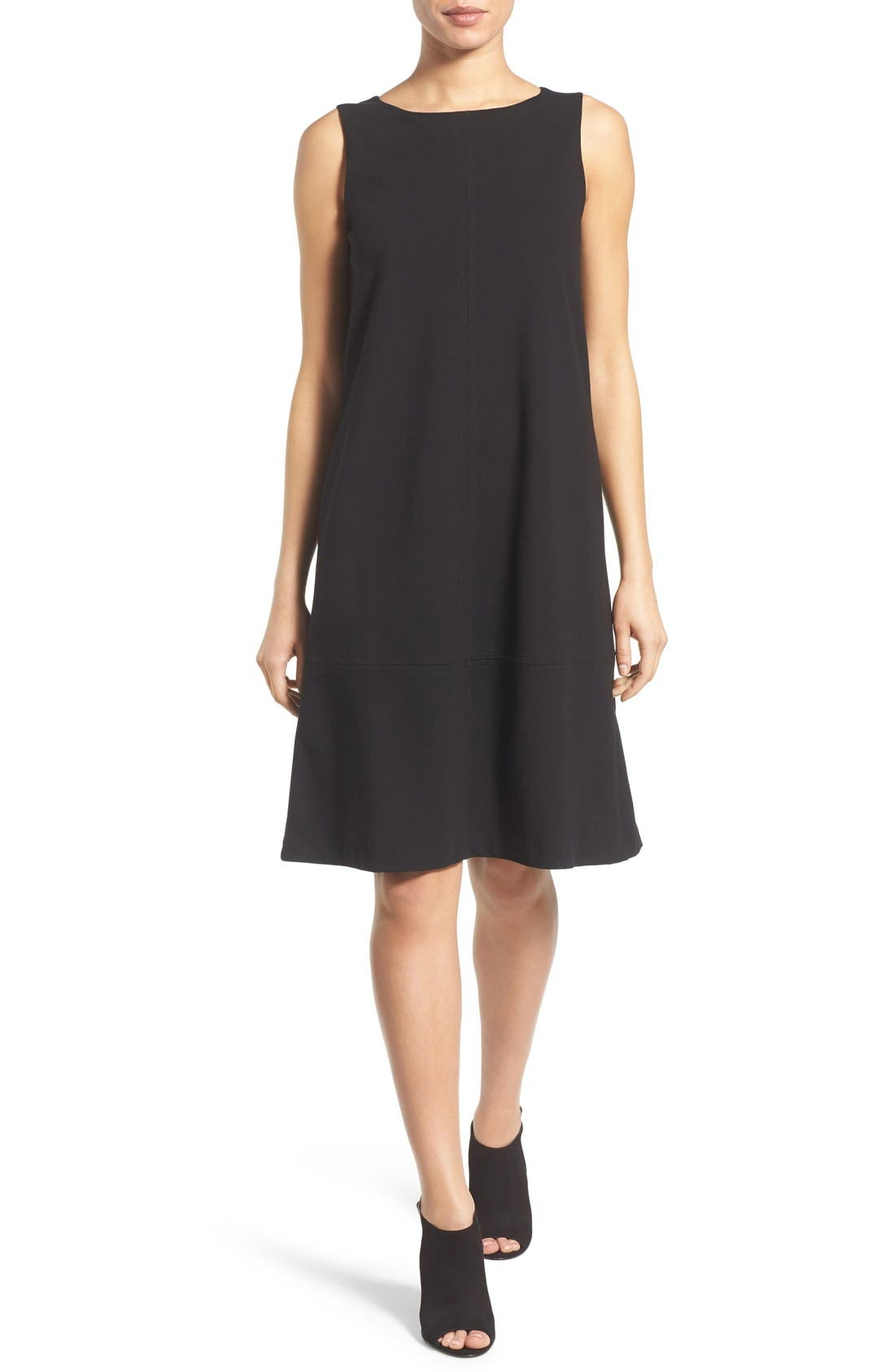 Main Image - Eileen Fisher Bateau Neck Drop Waist Shift Dress (Regular & Petite)
