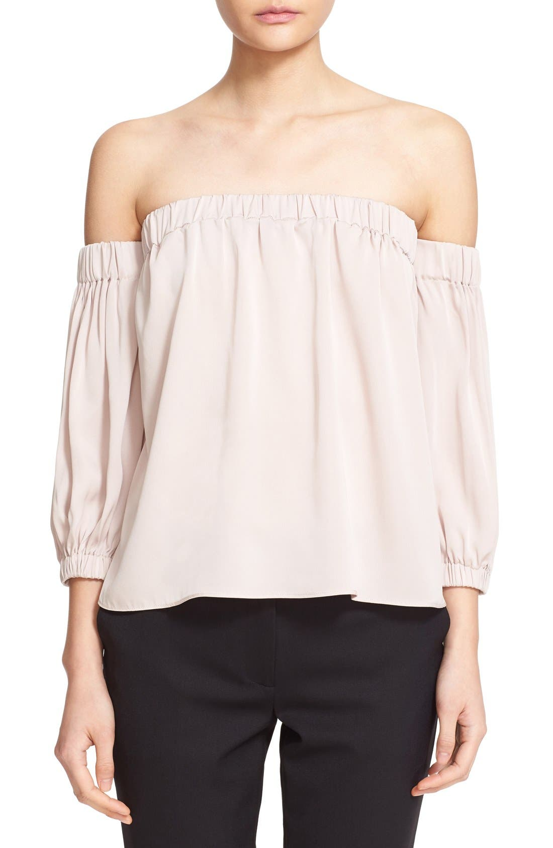 Alternate Image 1 Selected - Milly Stretch Silk Off the Shoulder Blouse