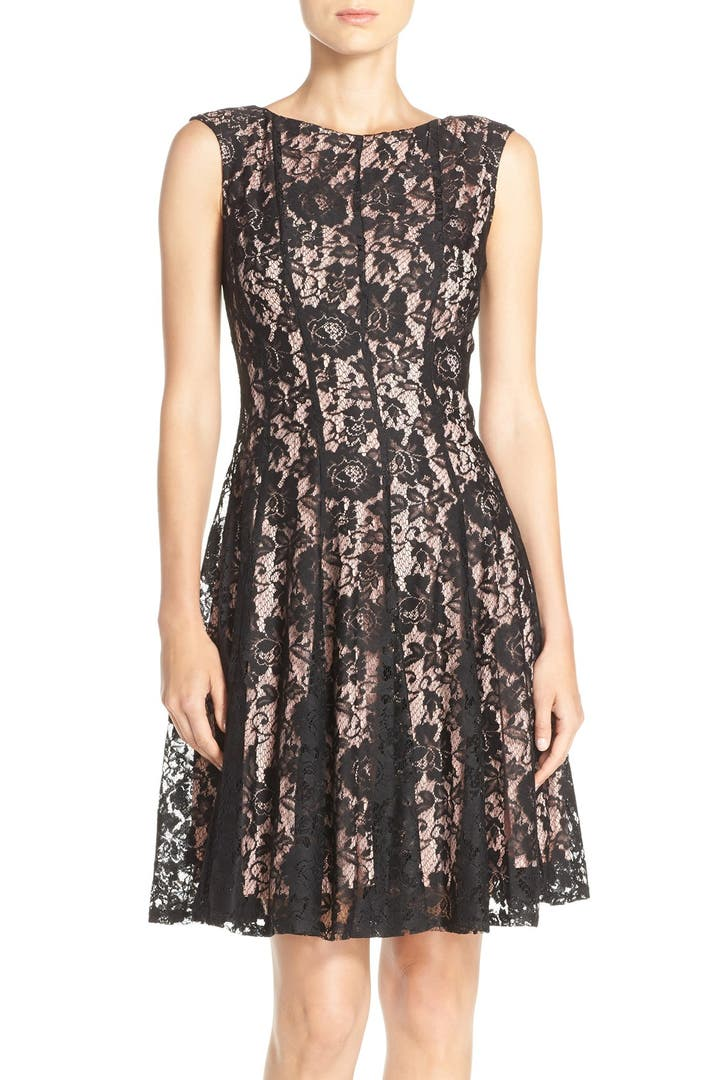 Gabby Skye Seamed Lace Fit Amp Flare Dress Nordstrom