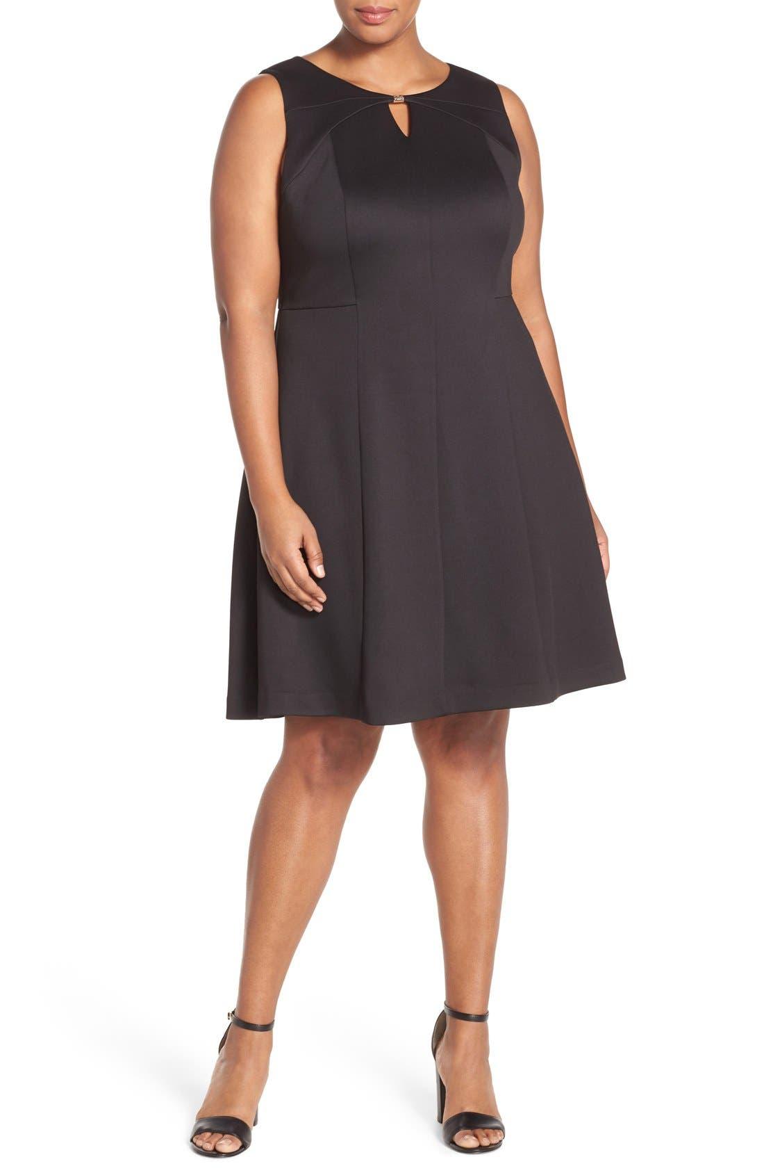 Ellen Tracy Keyhole Detail Scuba Knit Fit & Flare Dress (Plus Size)
