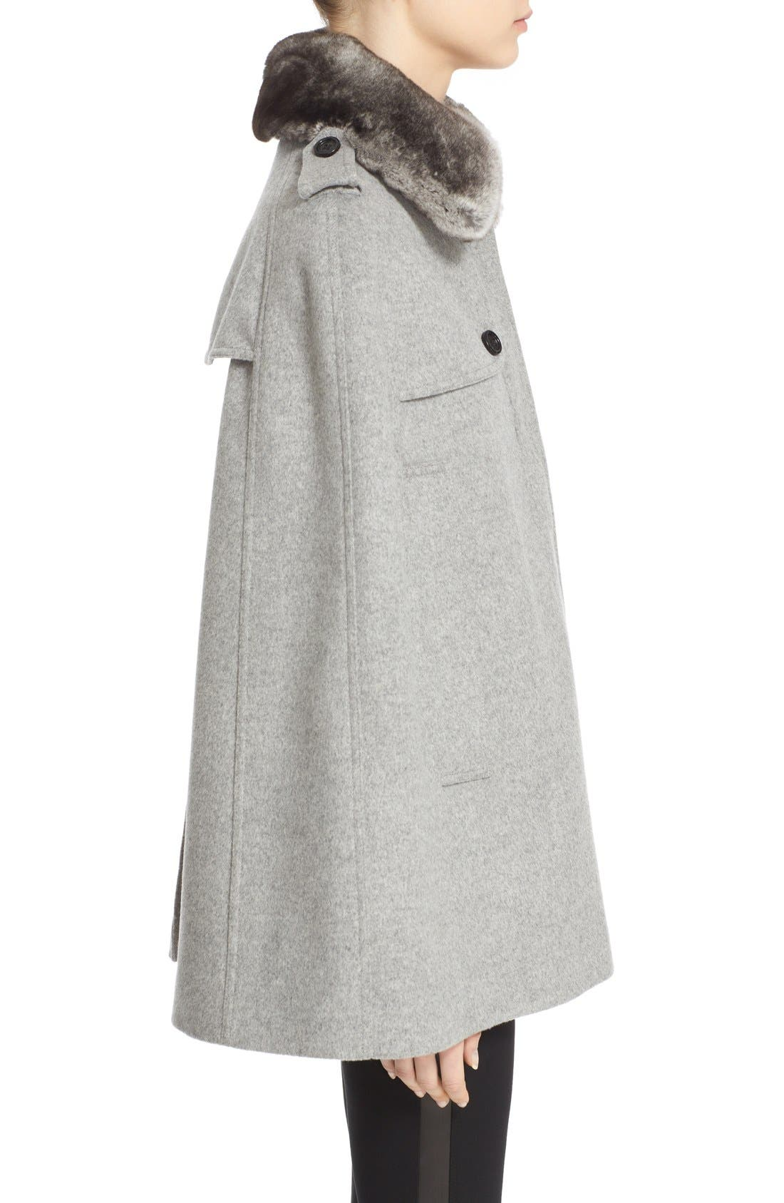 Alternate Image 5  - Burberry 'Wolseley' Wool & Cashmere Trench Cape with Removable Genuine Rabbit Fur Collar