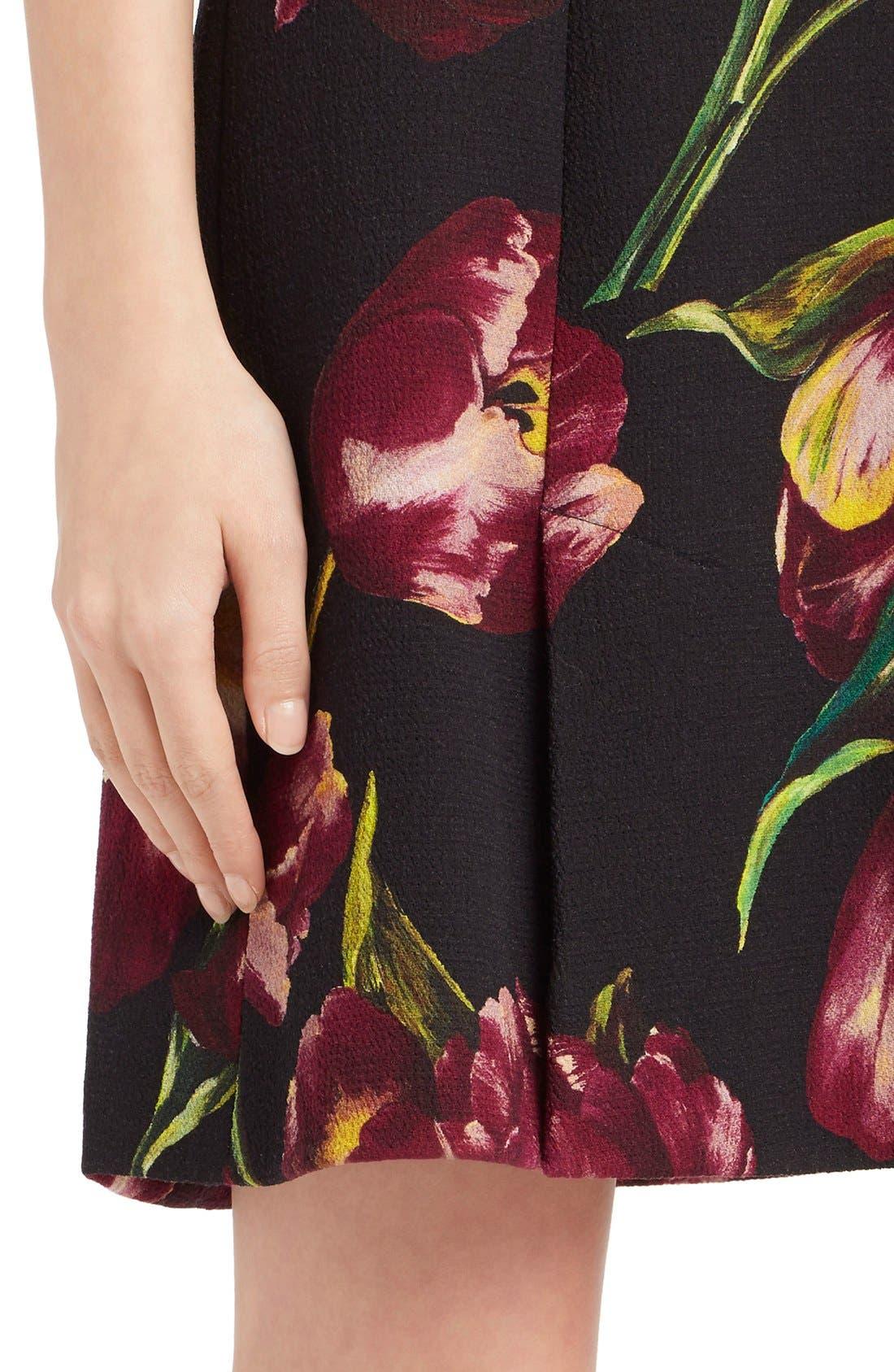 Alternate Image 6  - Dolce&Gabbana Tulip Print Wool A-Line Dress