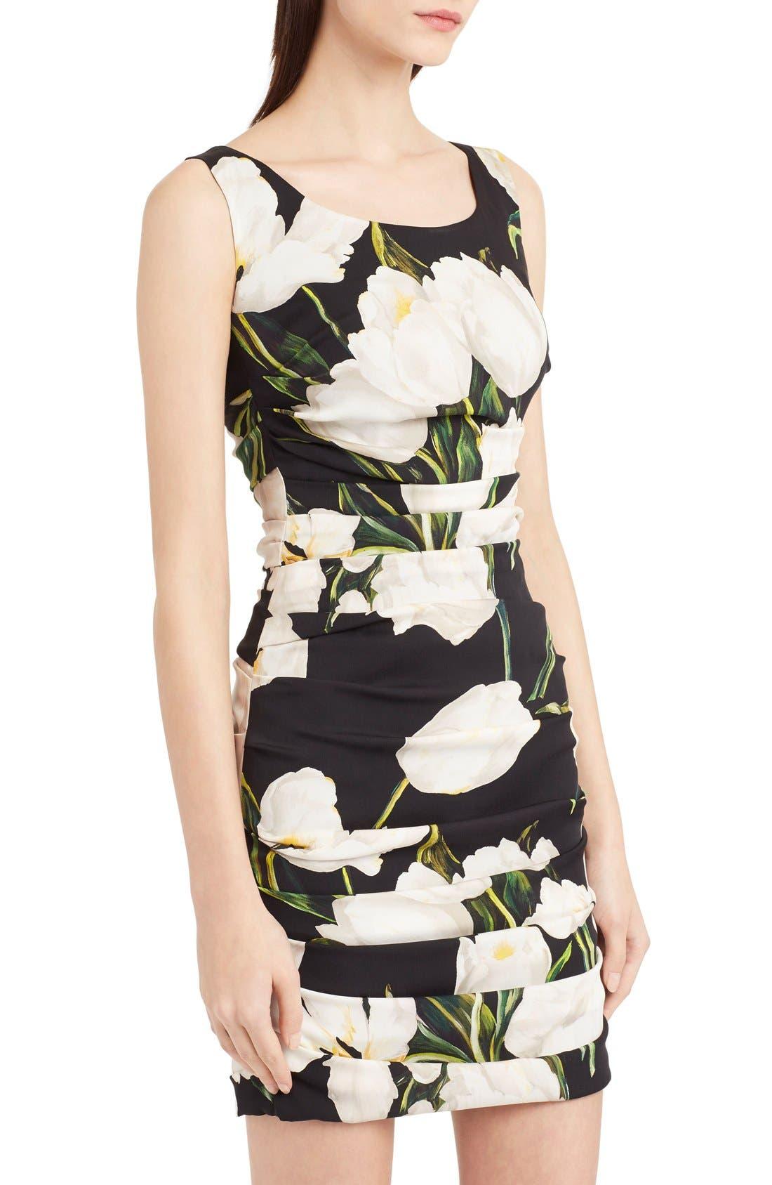 Alternate Image 5  - Dolce&Gabbana Ruched Tulip Print Stretch Silk Charmeuse Dress