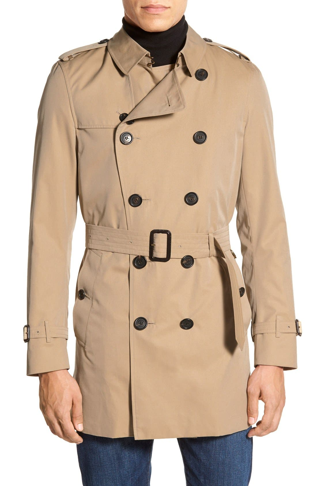 Main Image - Burberry Kensington Double Breasted Trench Coat (Regular & Big)