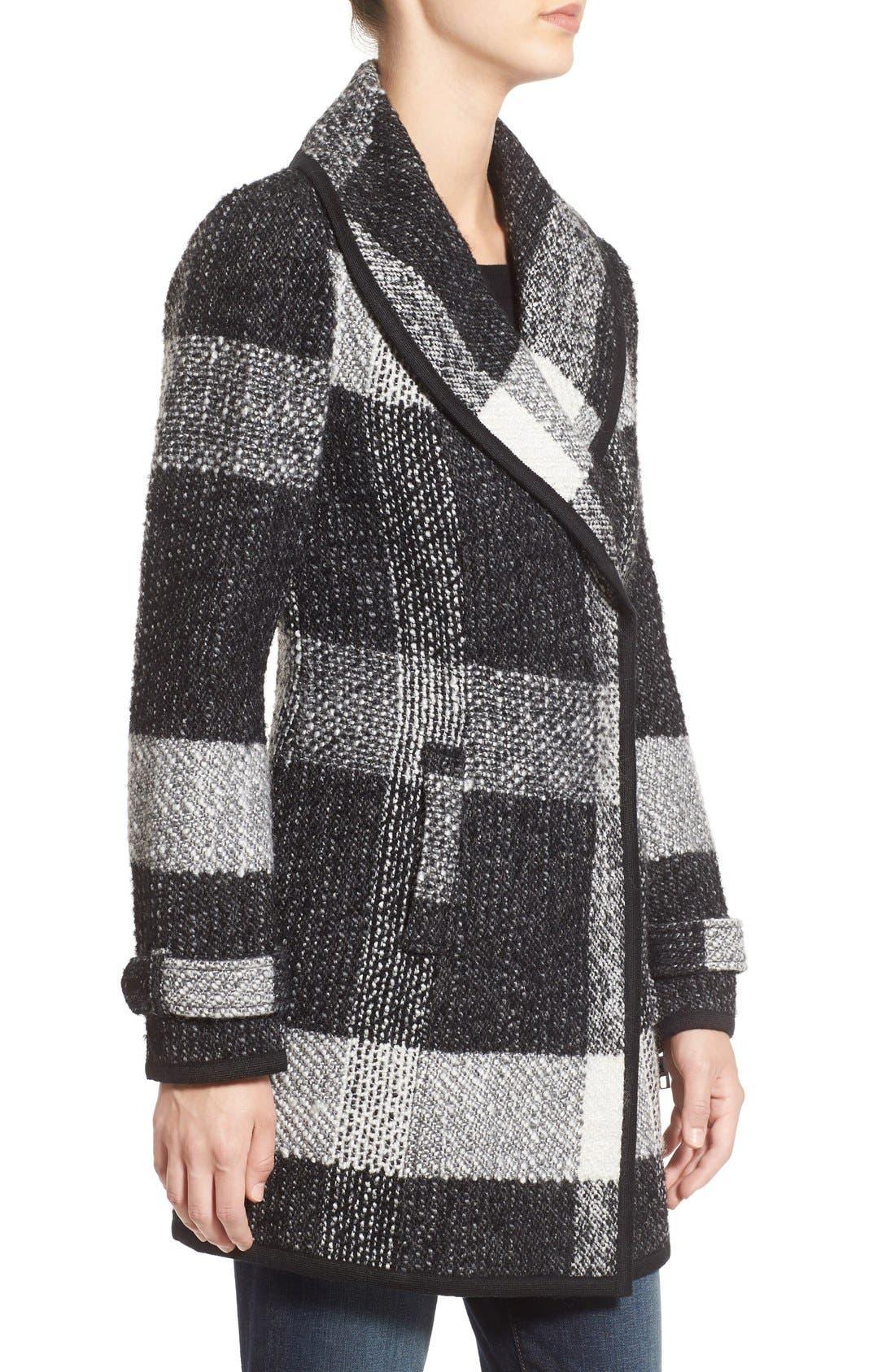 Alternate Image 3  - GUESS Shawl Collar Plaid Coat